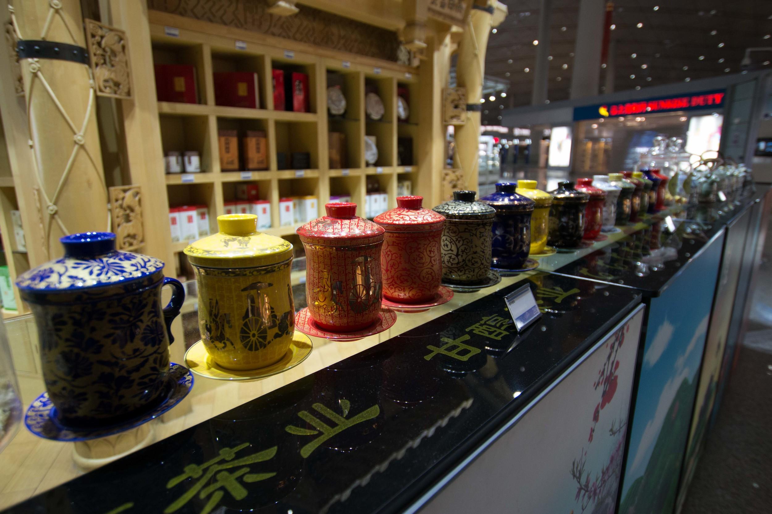 Pretty tea mugs at the airport
