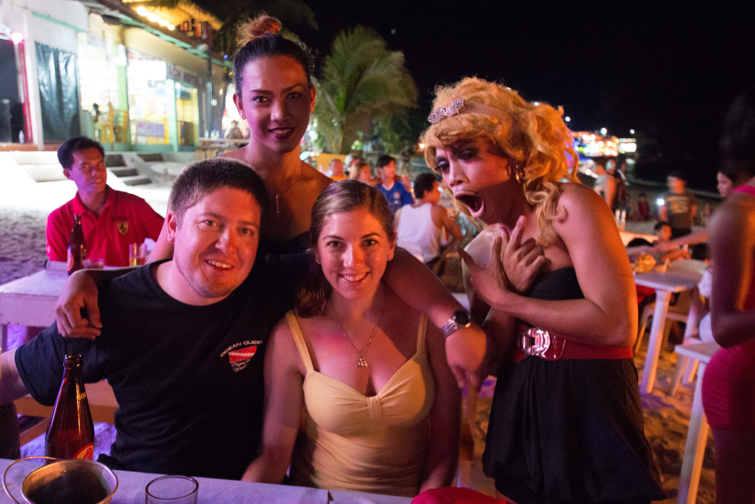 Aaron and I with a couple of the ladyboys from the show. The one on the left totally looks like a woman to me!
