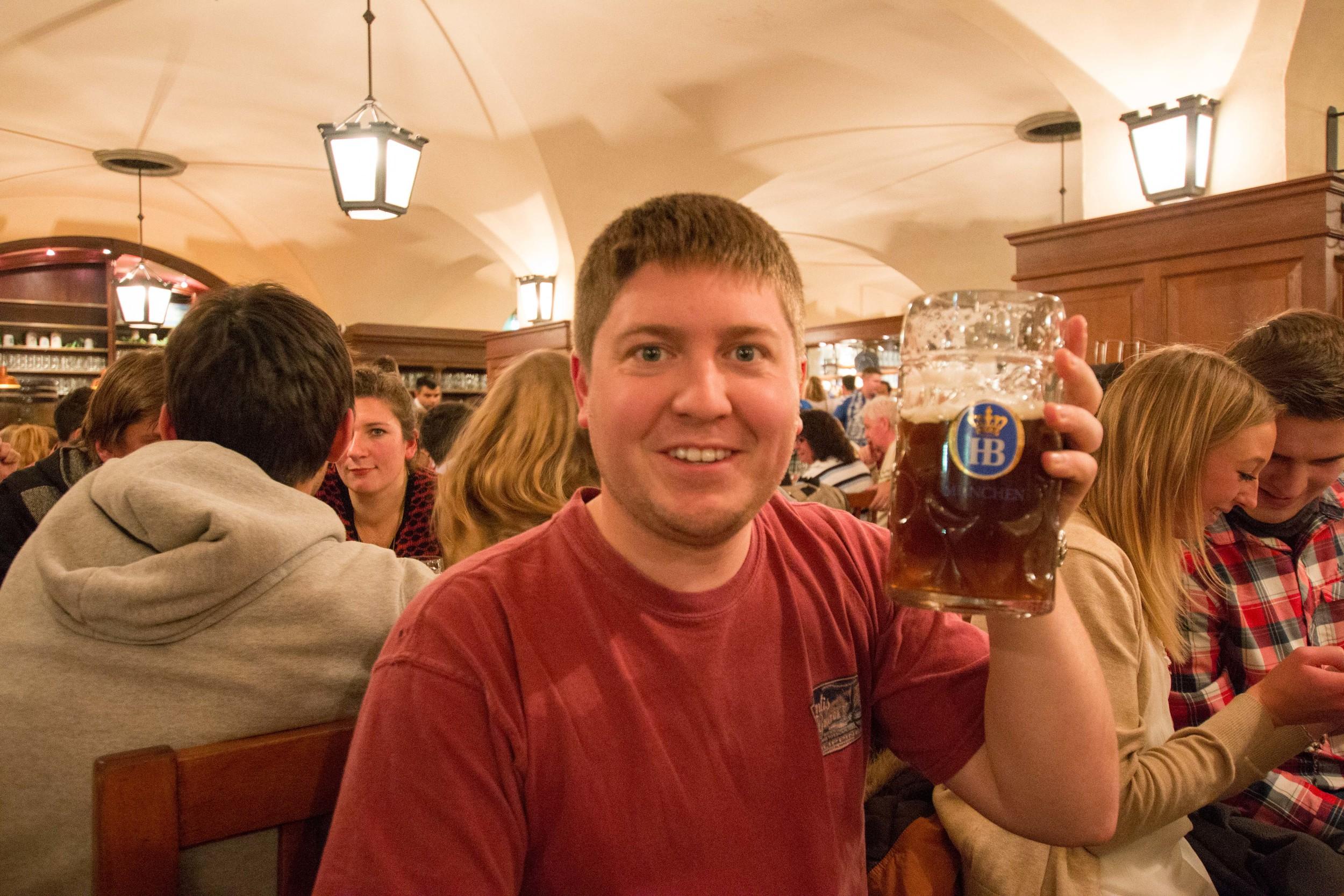 Aaron enjoying a cold Winterzwickl at Hofbraushaus