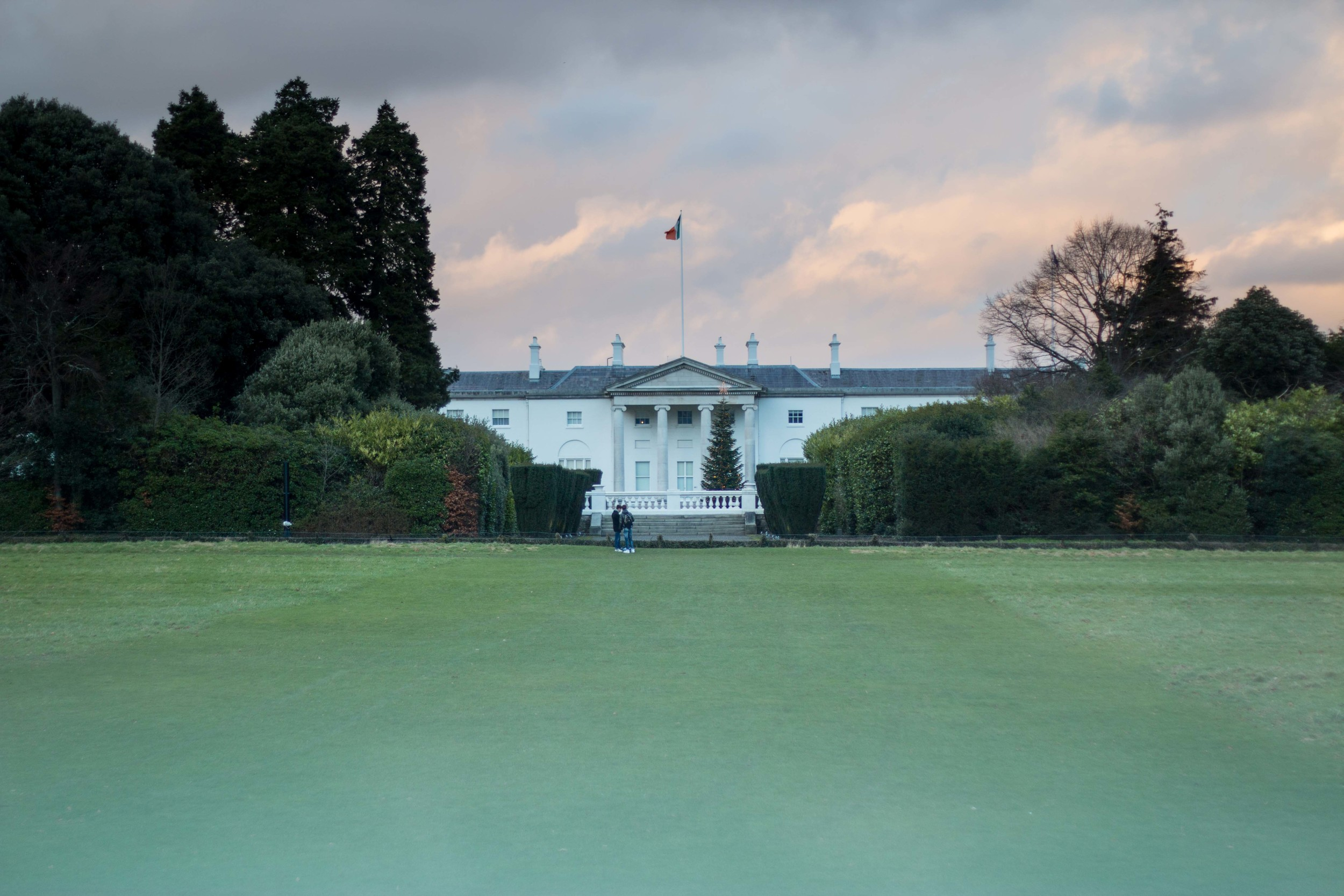 The home of Ireland's president. If you click on the picture, you can see a light in the upper left window. This light was first placed there in 1990 and has been there ever since. It symbolizes all the Irish emigrants and is a beacon to all, beckoning them home.