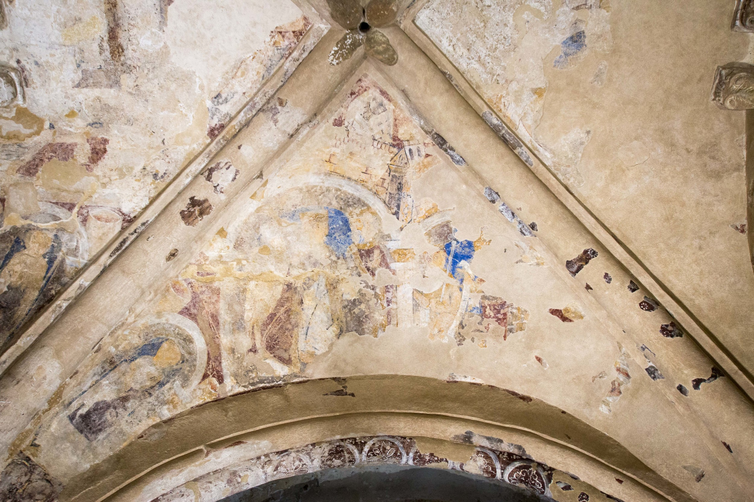 Part of the Cathedral at Rock of Cashel with faint paint still visible