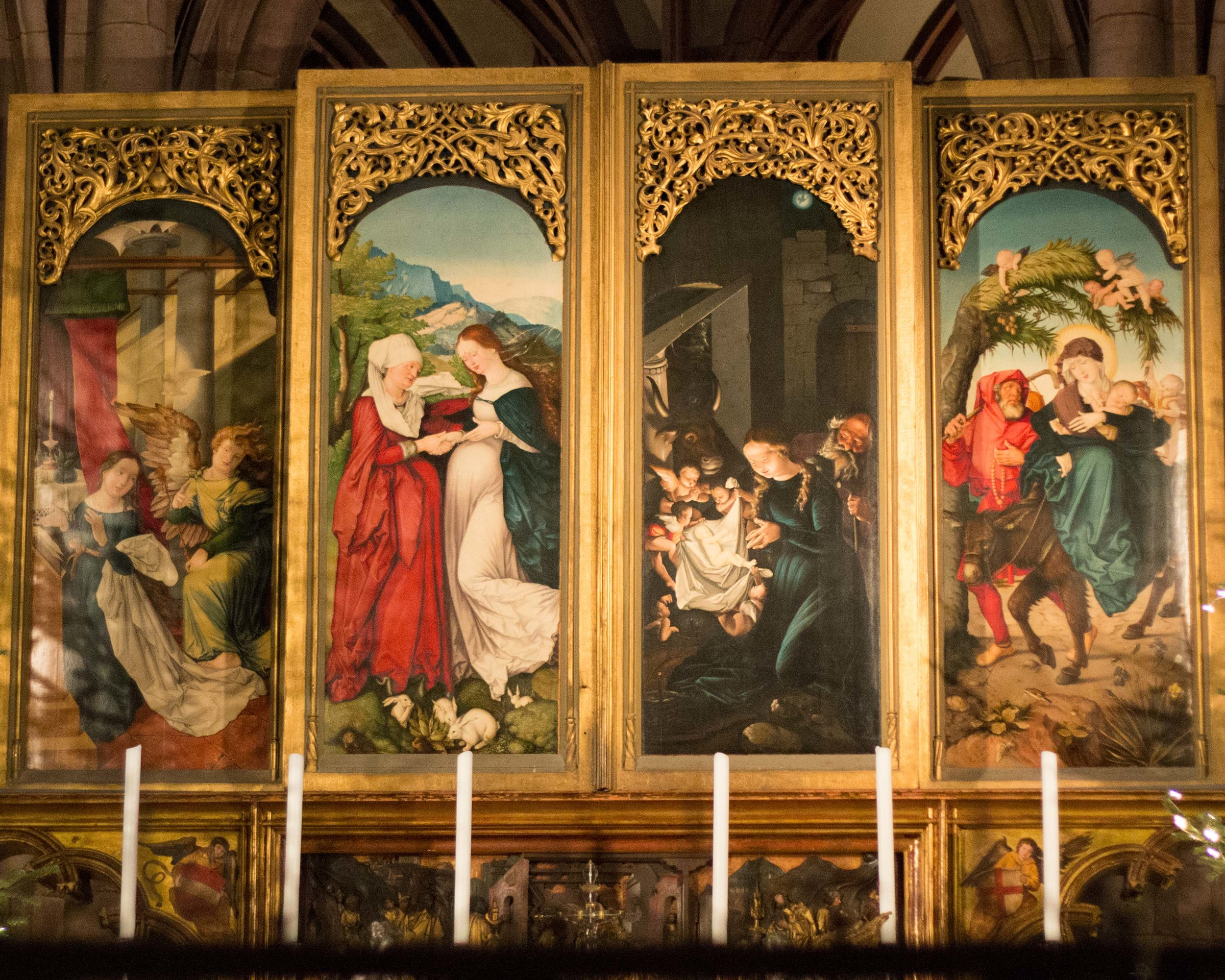 Alter piece at the Freiberg cathedral. During the Christmas season, it's closed and tells the story of Jesus's birth. The rest of the year it is open and contains many more paintings