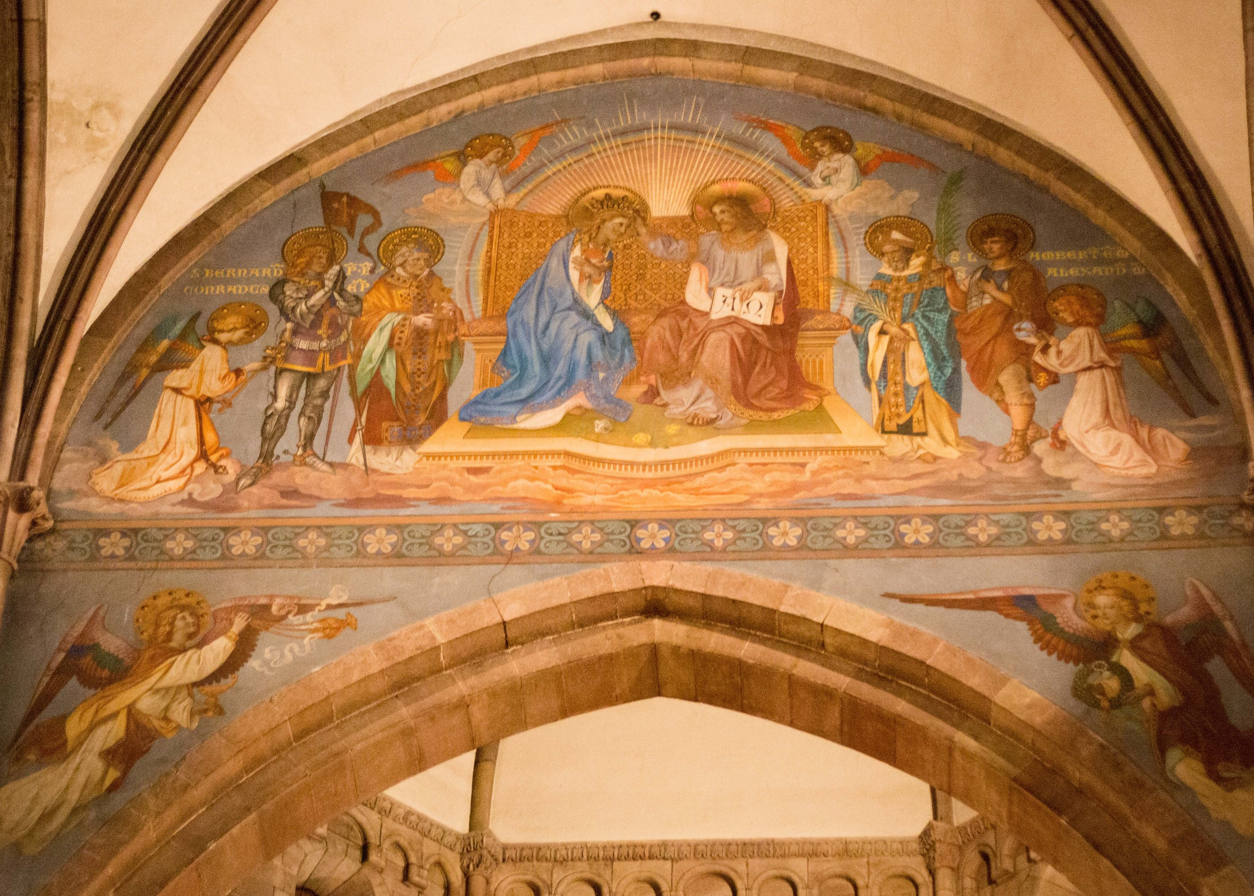 One of the manypaintings on the walls of the Freiburg cathedral