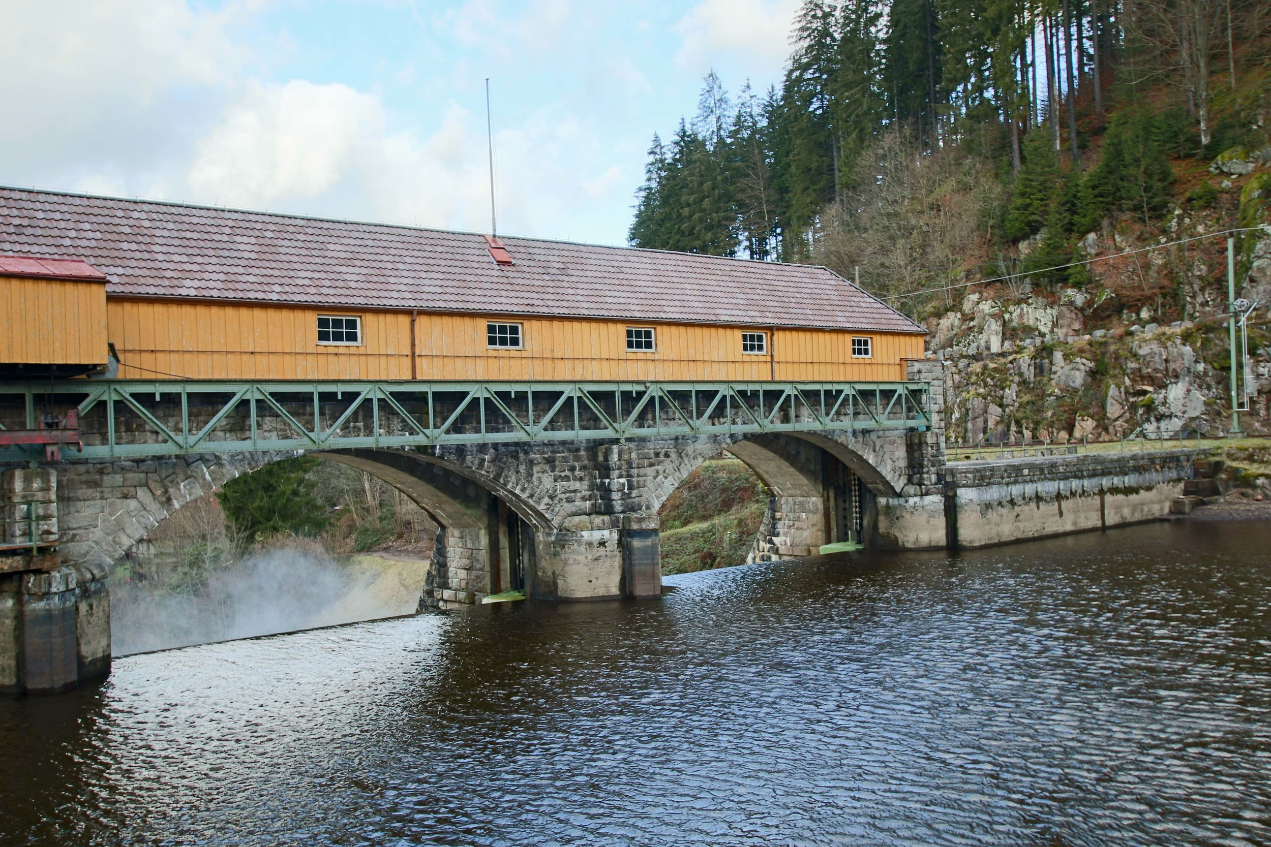 Control room over a large dam along one of the larger rivers in the Black Forest