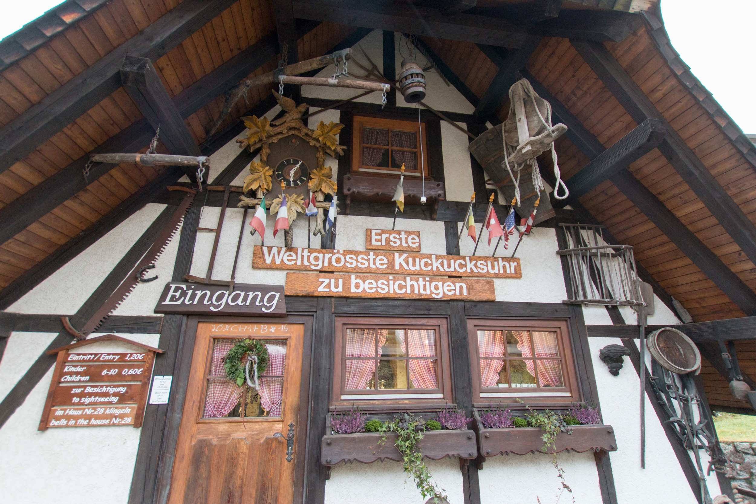 Entrance to the World's Largest Cuckoo clock. Unfortunately it was closed and we couldn't see it.