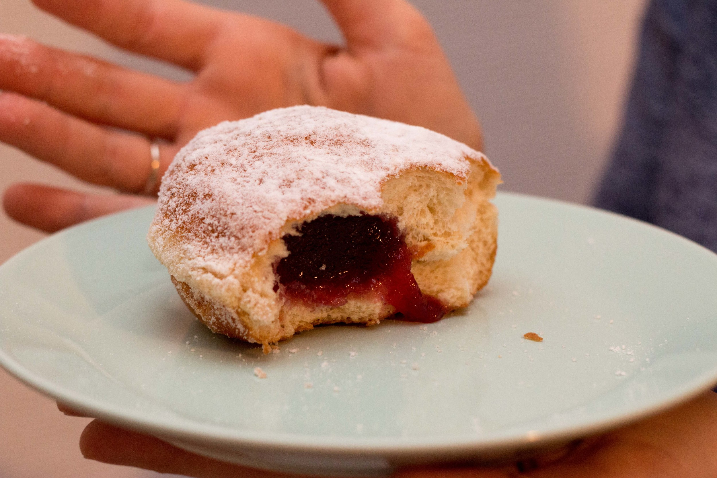 The inside of a berliner, aka Paczki