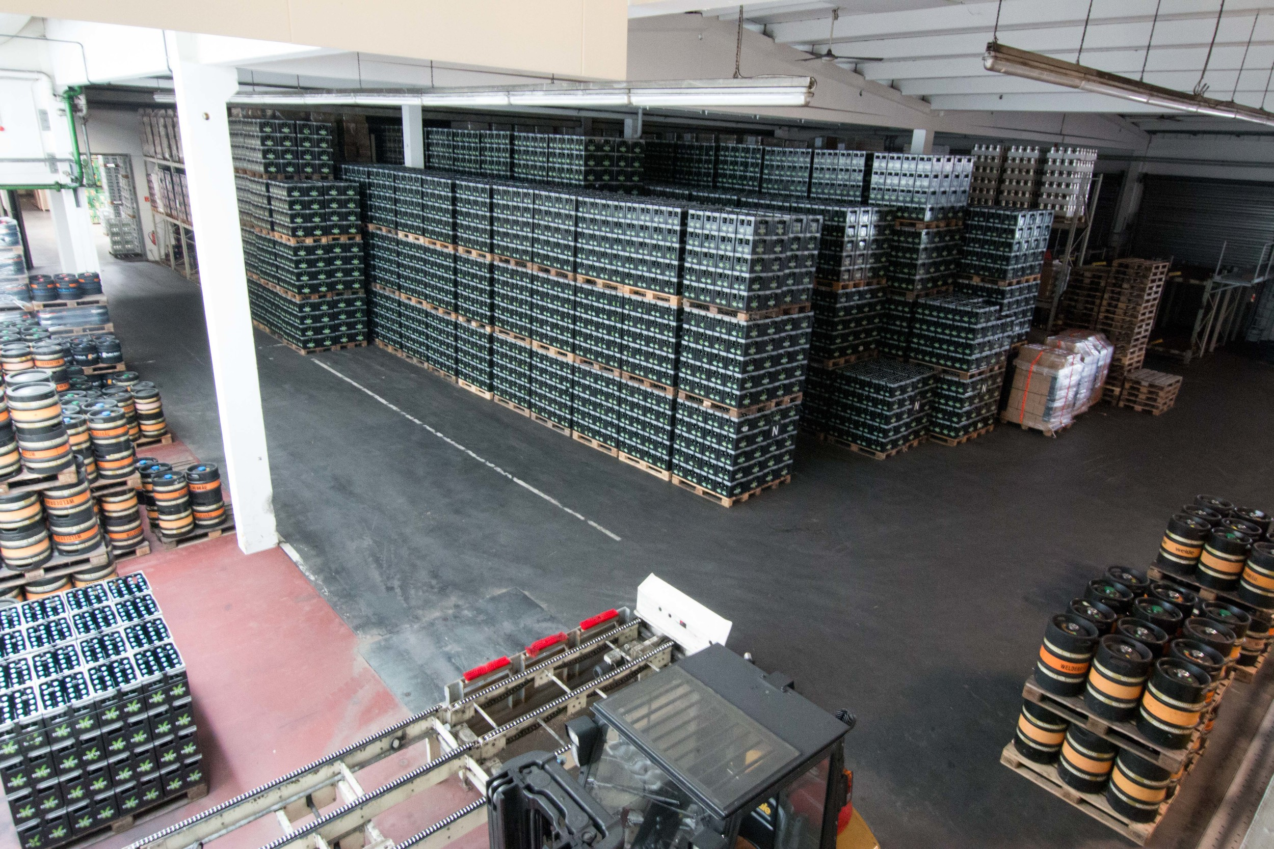 Cases and kegs of Welde beer waiting to be shipped. Just to give you an idea, there are about 1600 bottles of beer per pallet.