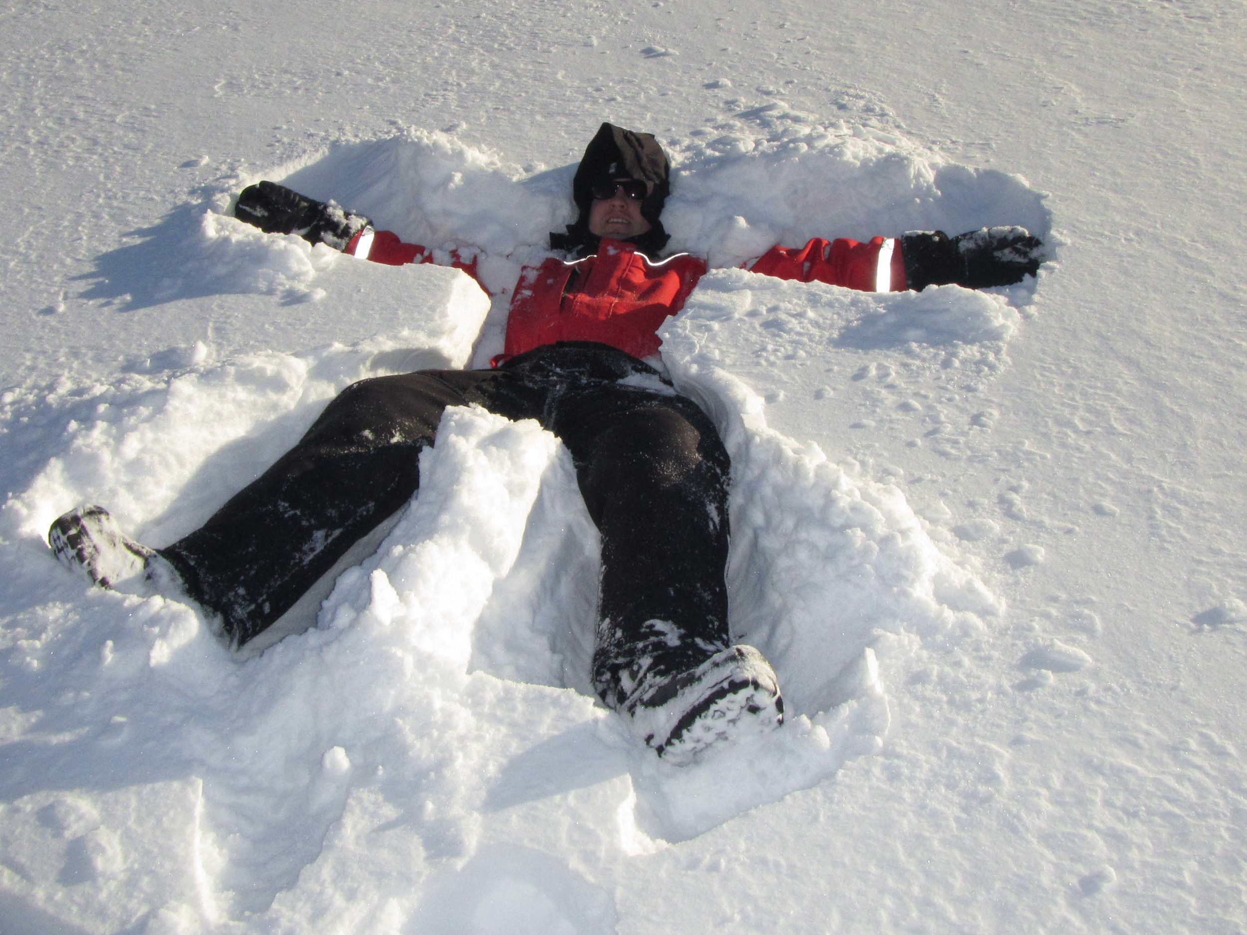 Aaron after he jumped into the fresh snow