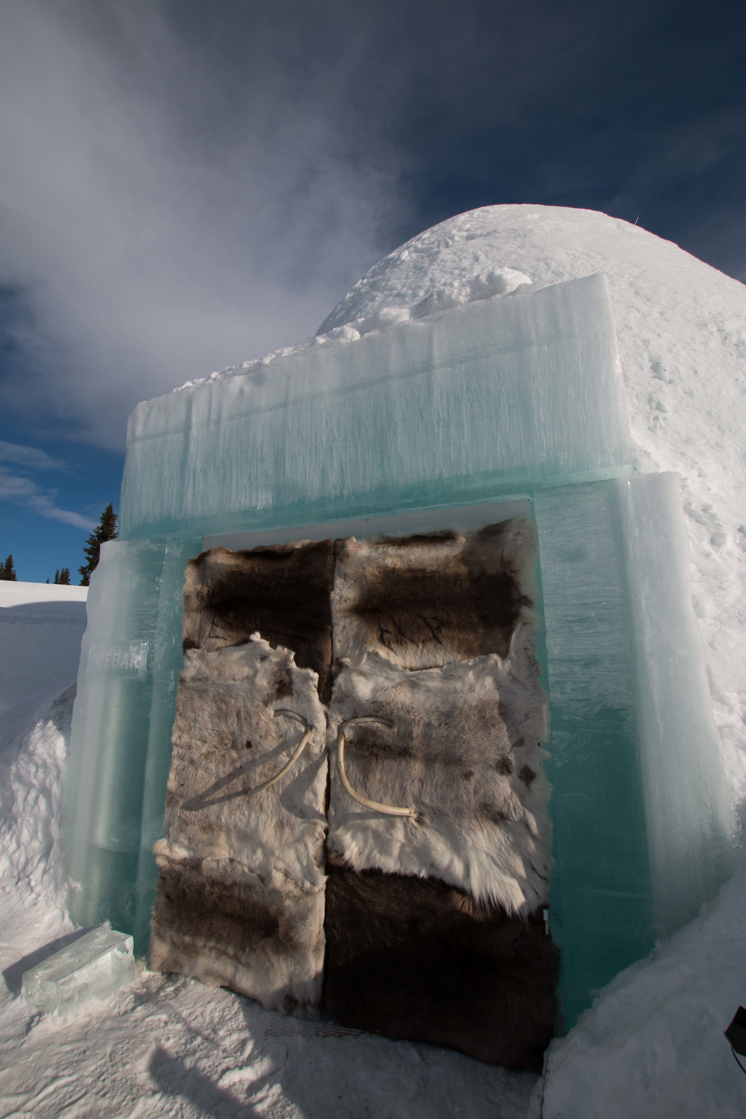 Entrance into the Ice Bar. Yes, those doors are covered in reindeer skins.