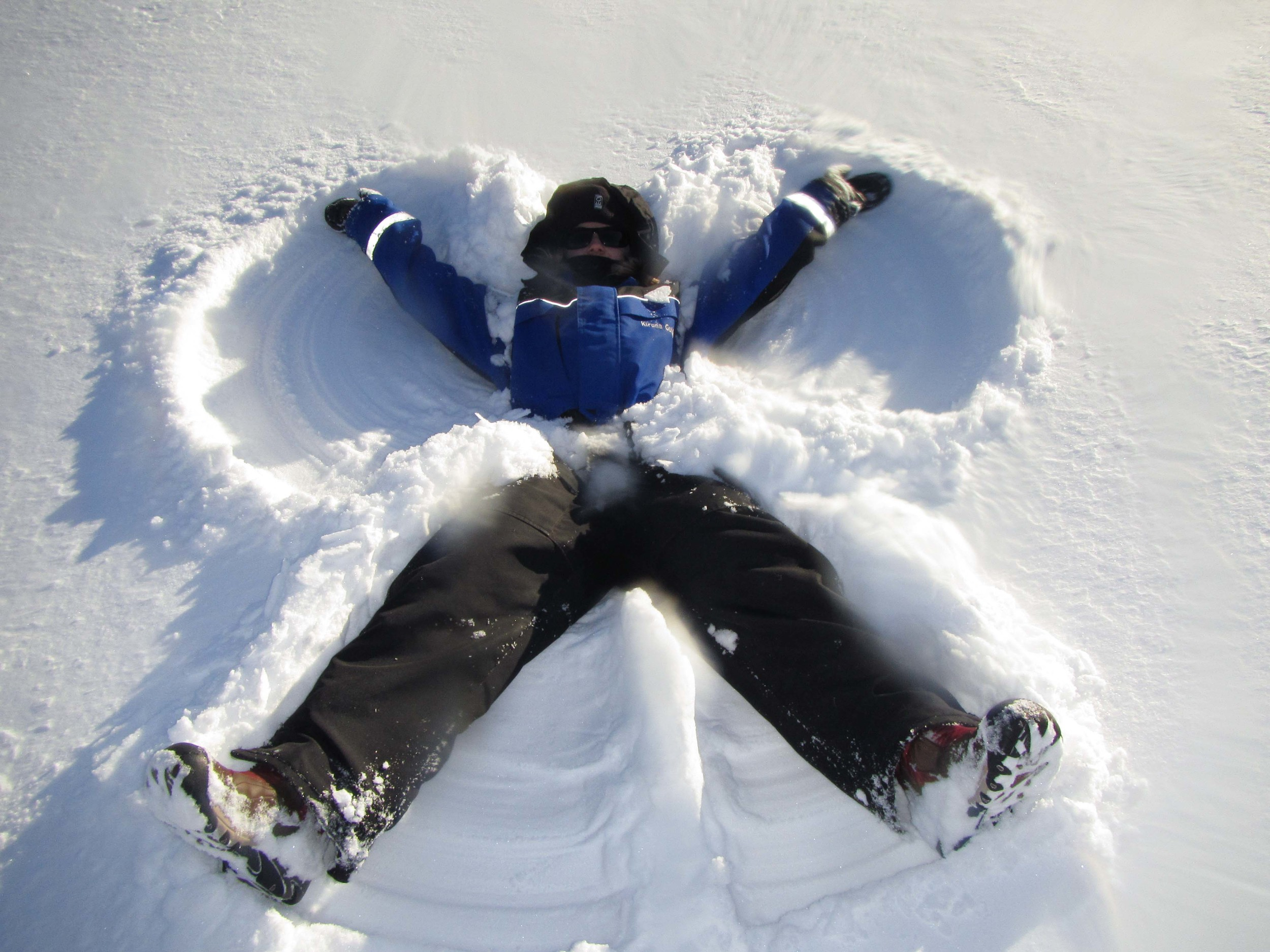 Making snow angels in the fresh snow