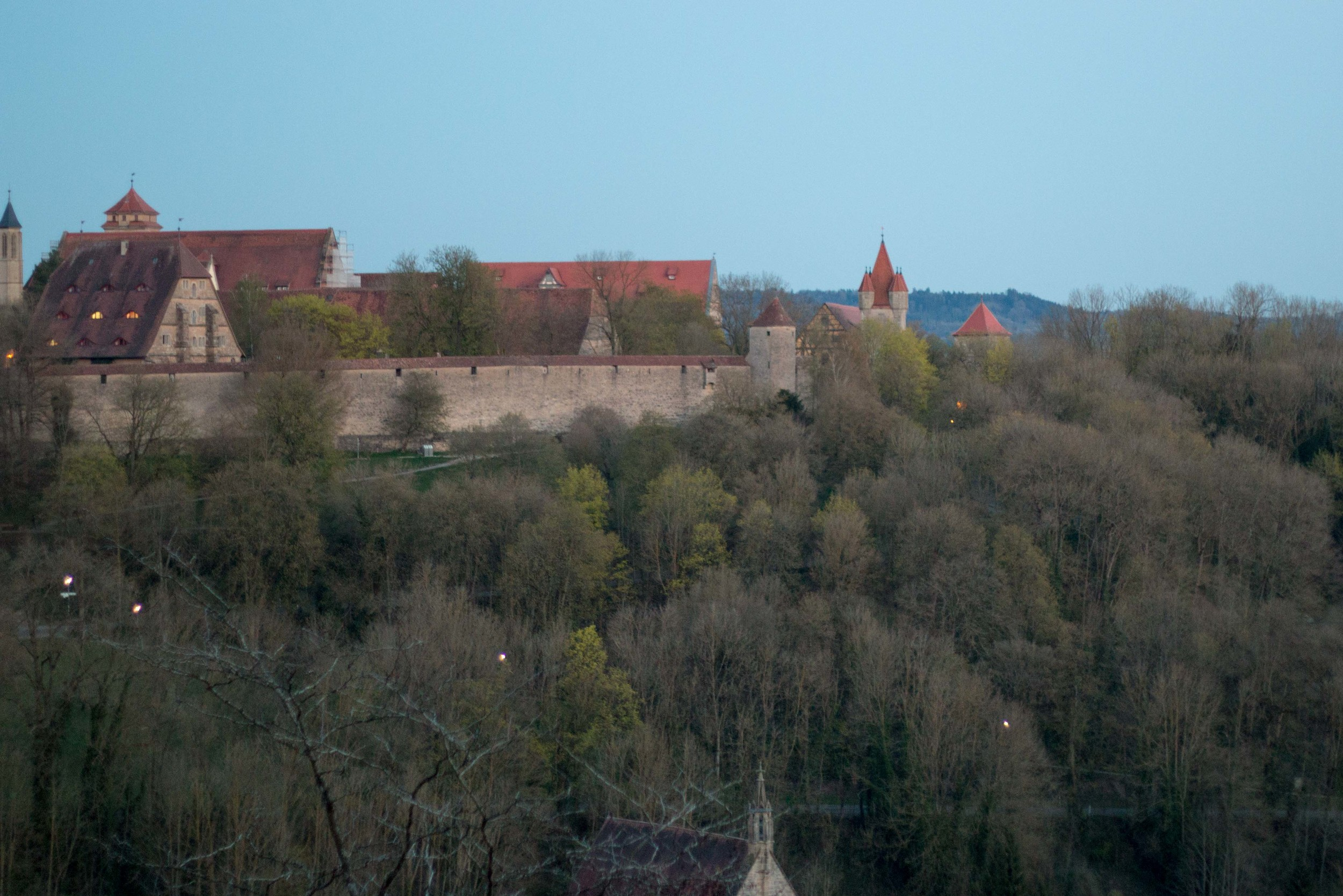View of the city and walls from where the Castle used to stand (which is now a big garden)