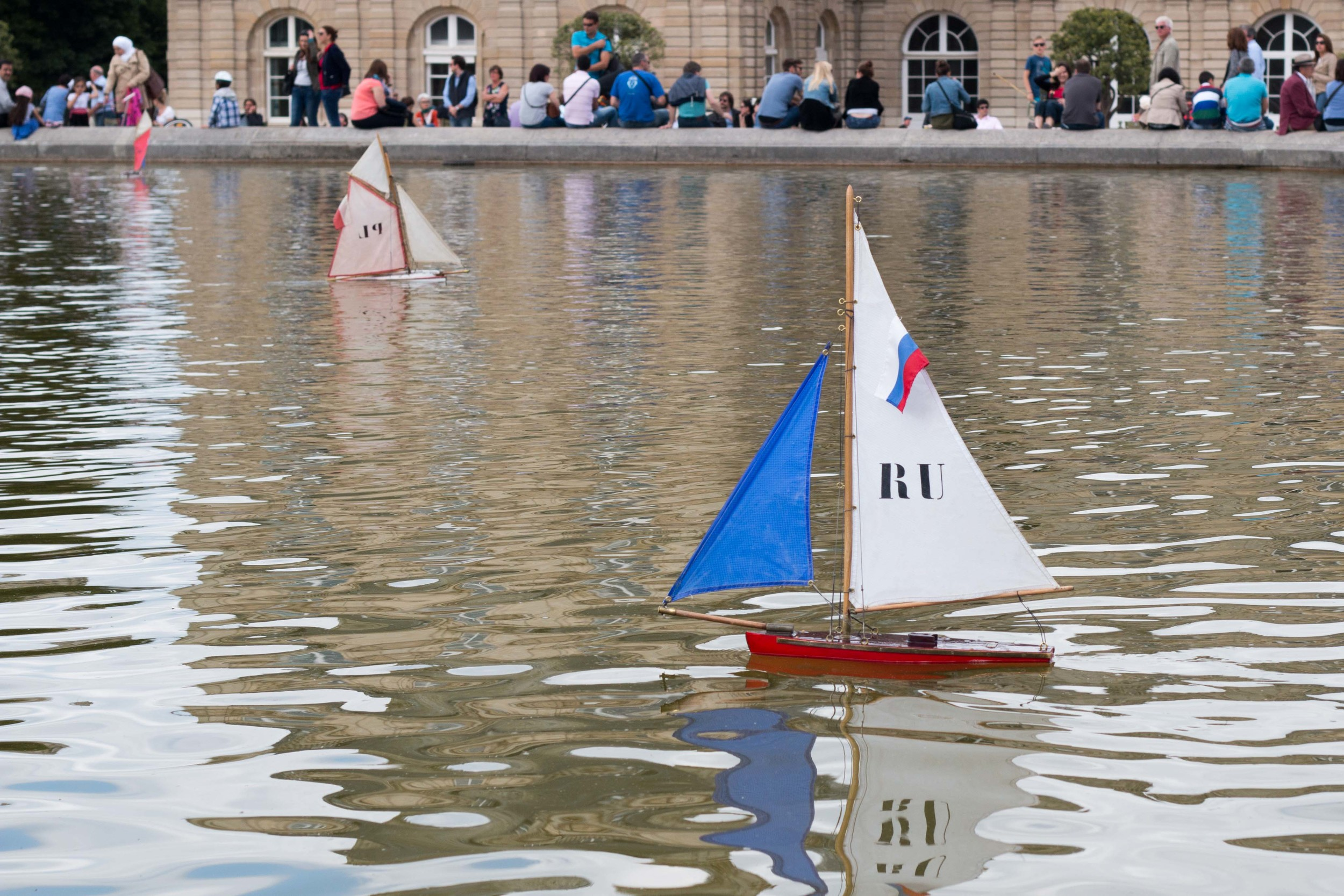 Sailboats in the fountain at Luxembourg gardens