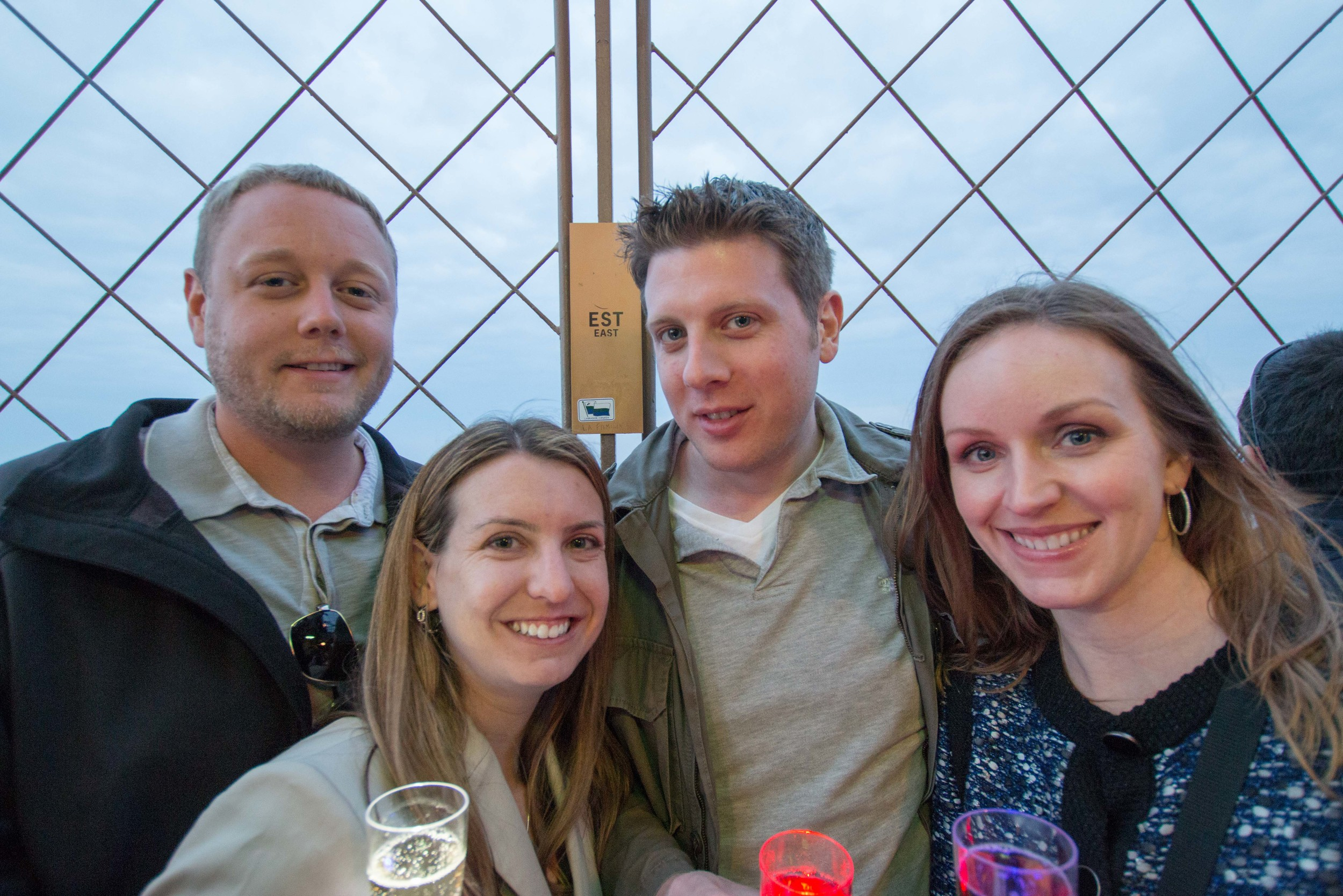 Scott, Sarah, Andrew and Justine enjoying their Champagne on the top of the the Eiffel Tower