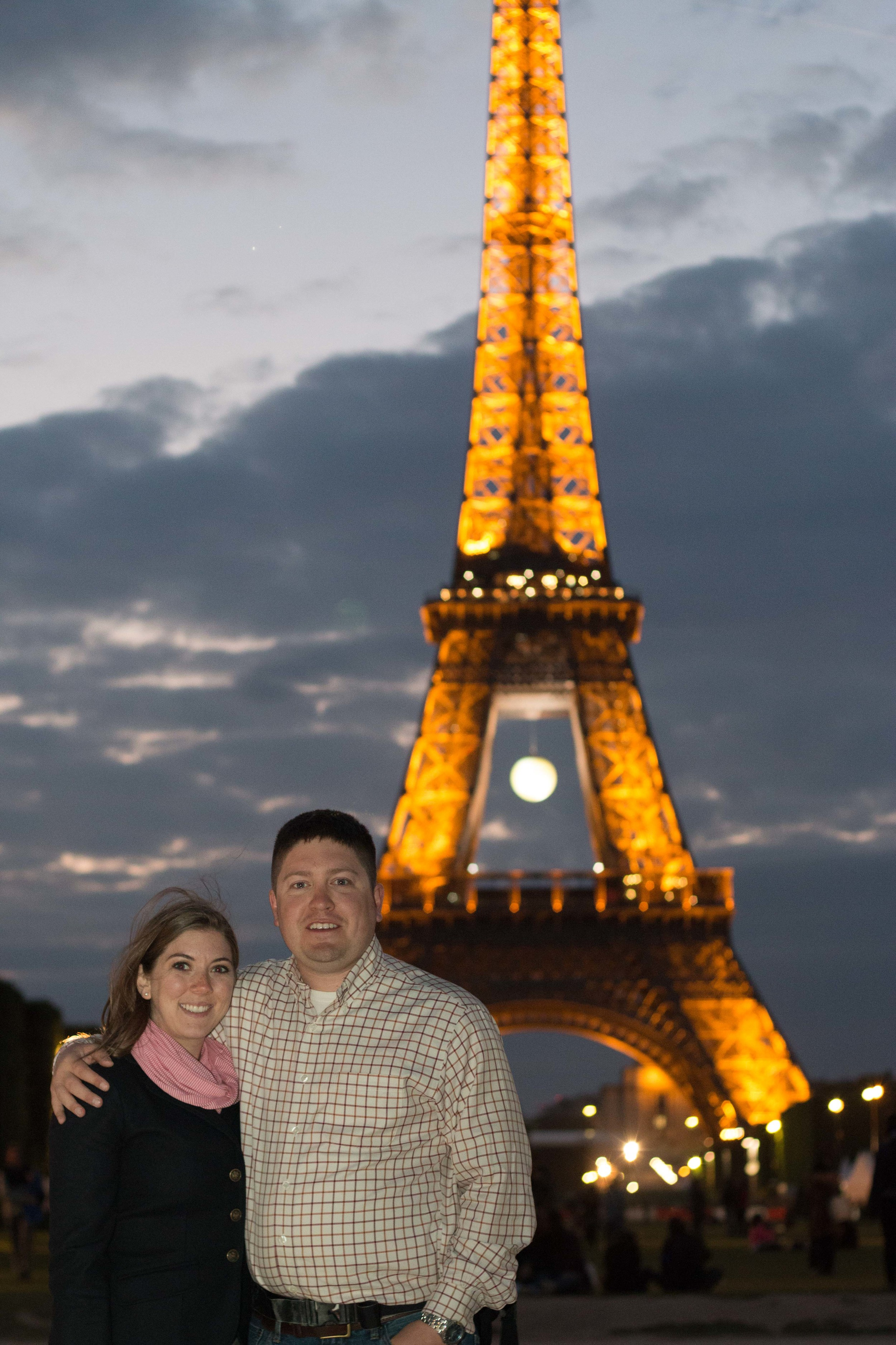 Aaron and I with the Eiffel Tower. It was kind of windy, and cold.