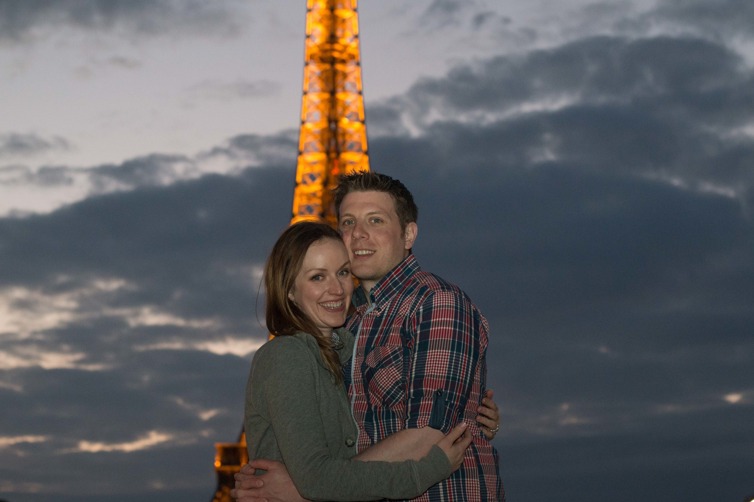 Justine and Andrew in front of the Tower