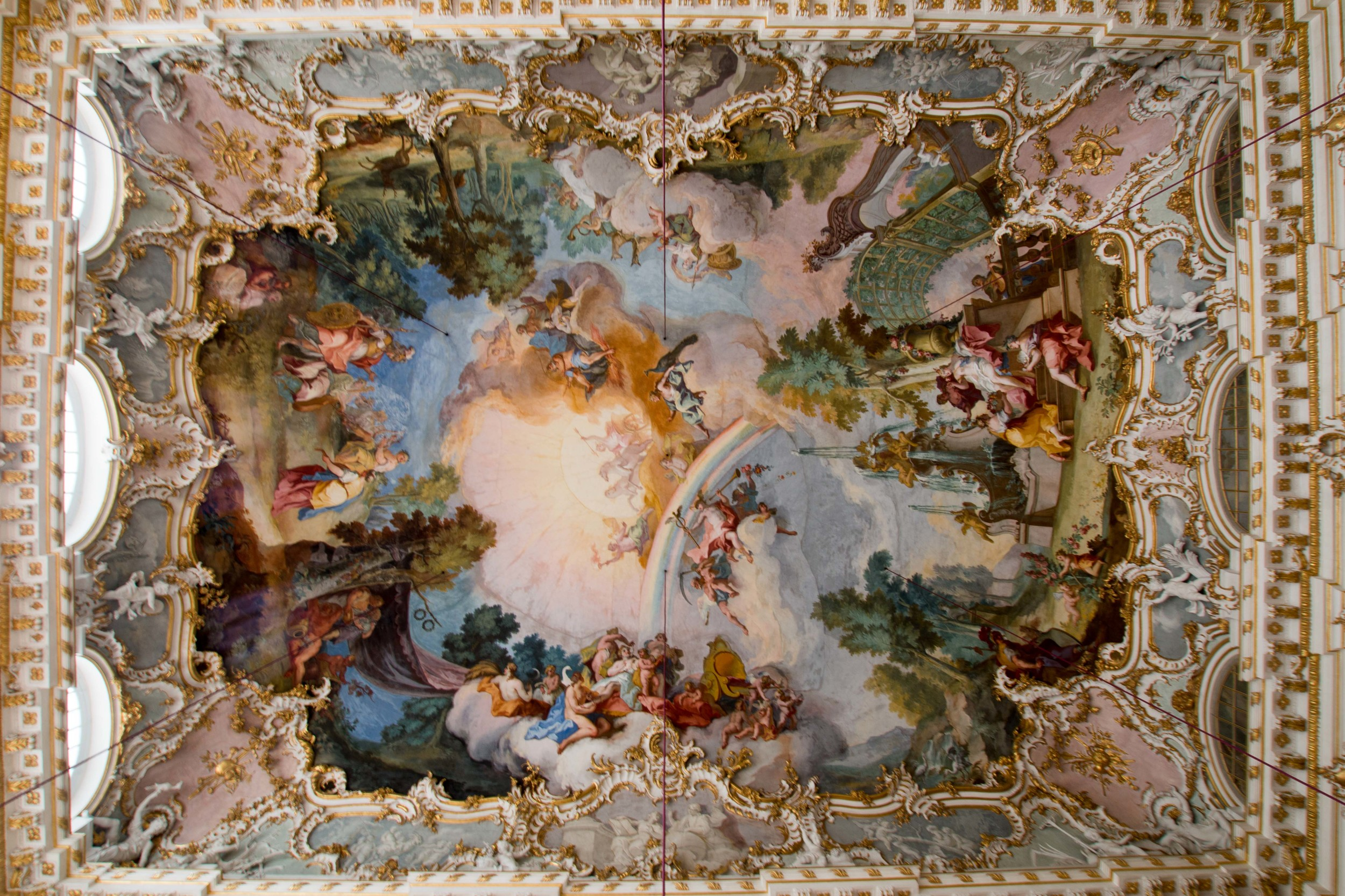 painting on the ceiling of the great hall