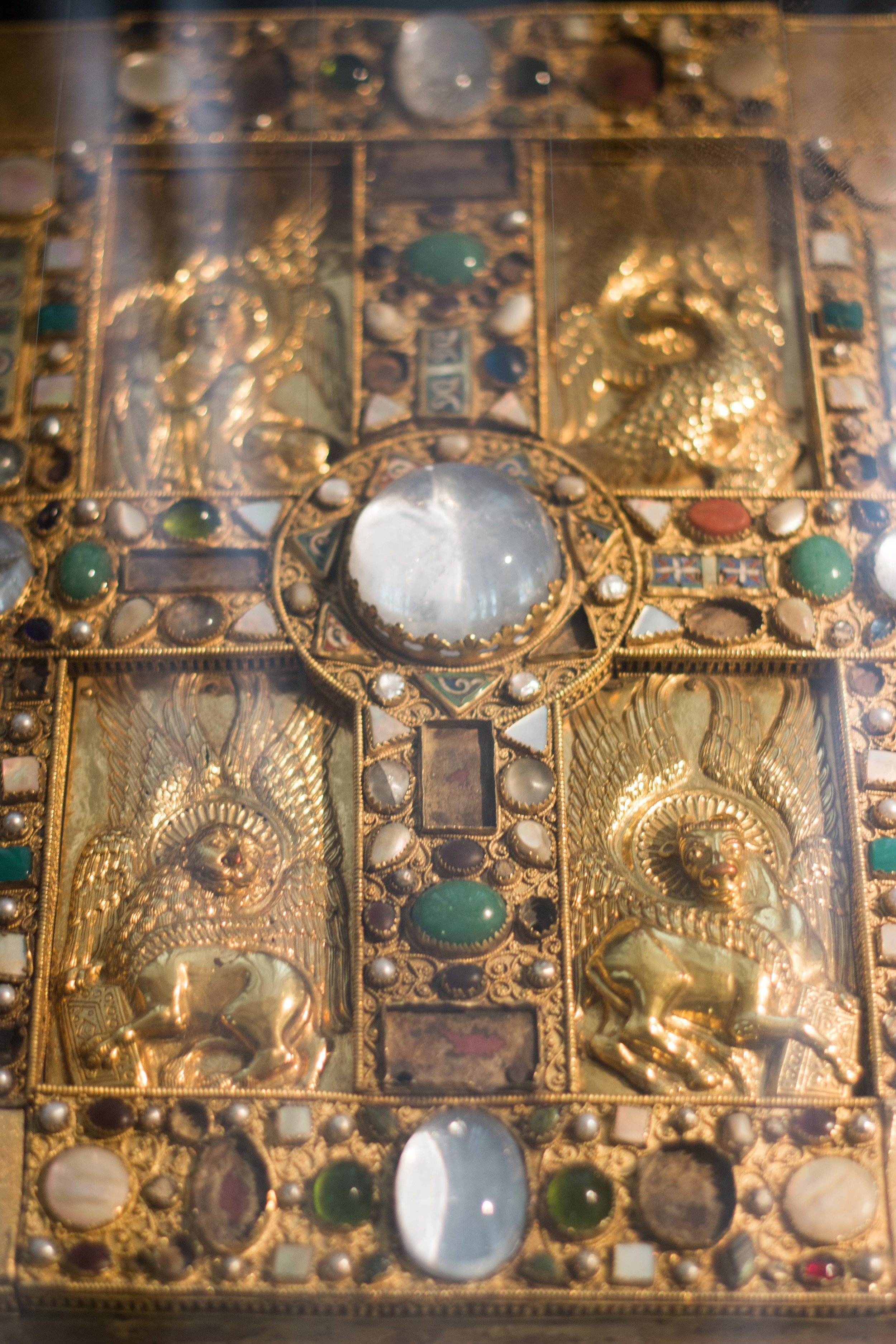 One of the incredibly ornate bibles on display in the Schatzkammer