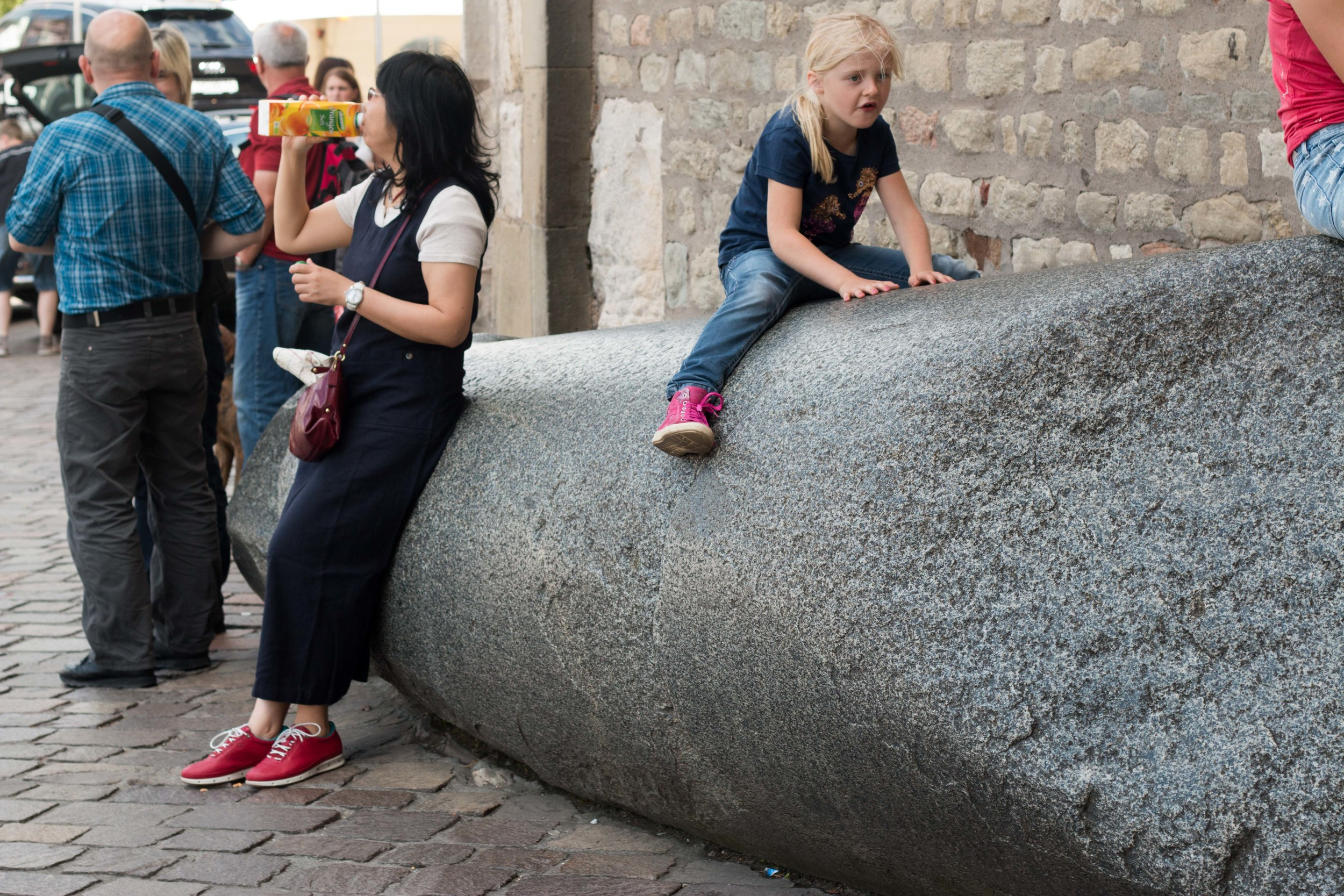 One of the granite column pieces outside the Cathedral.