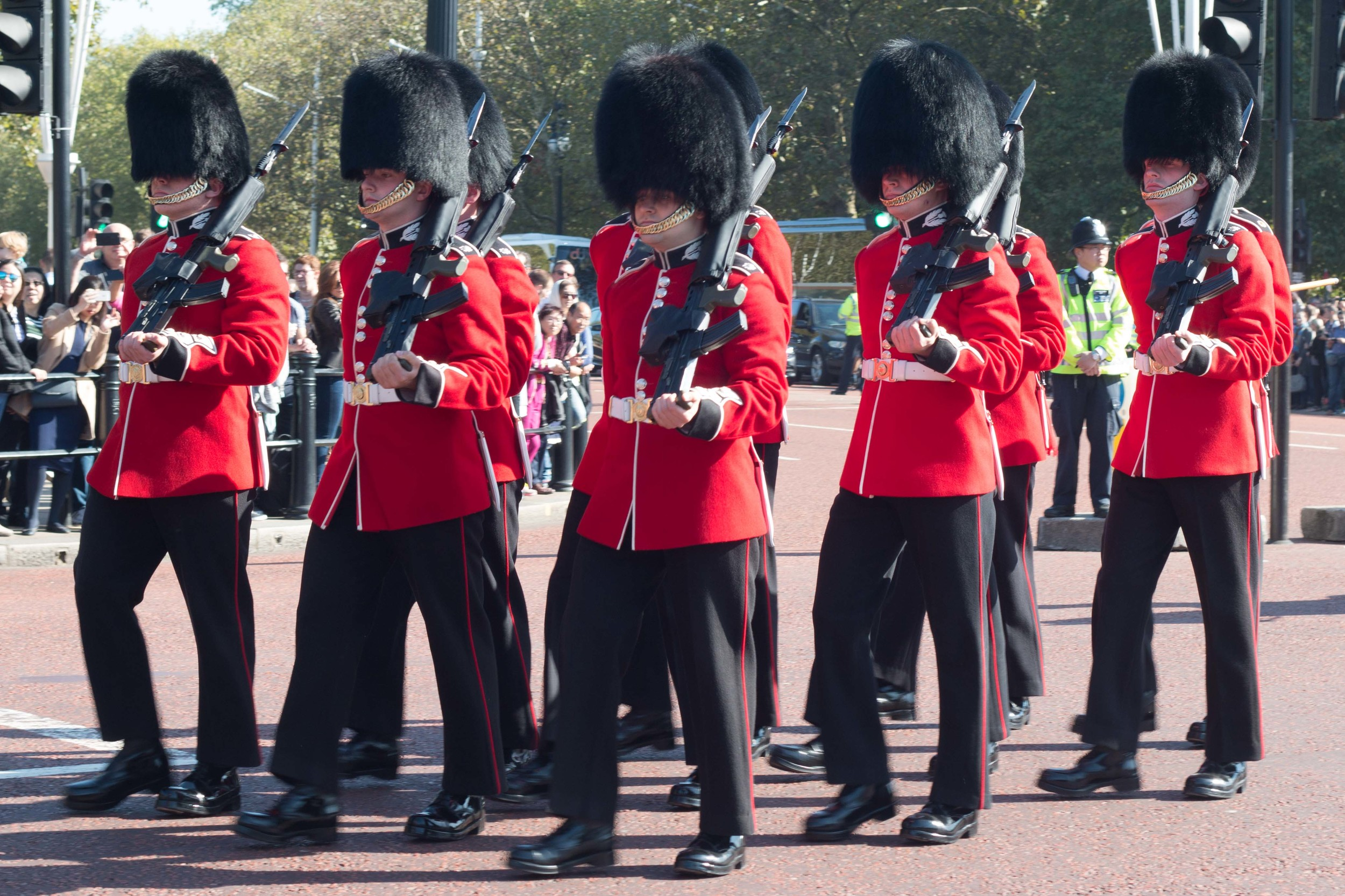 the guards as they march towards the Palace