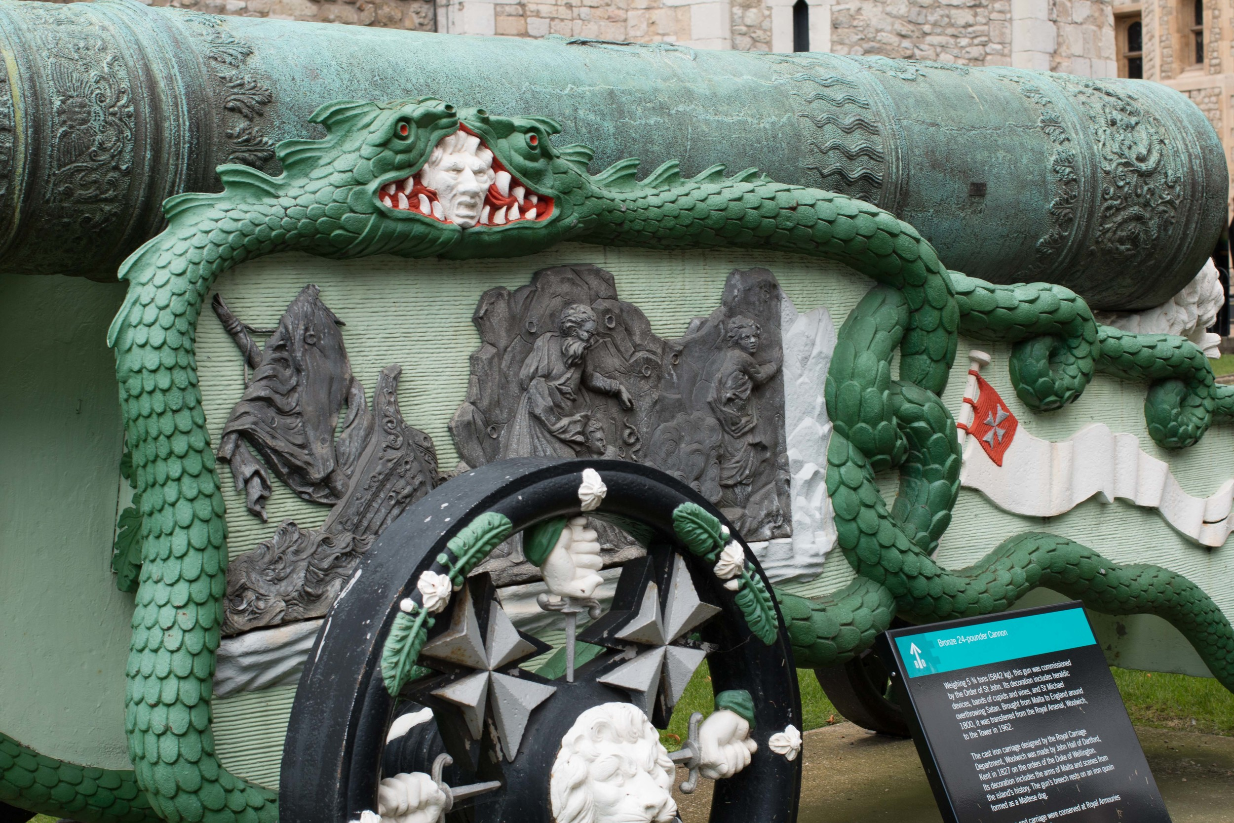Elaborate carvings on one of the cannons