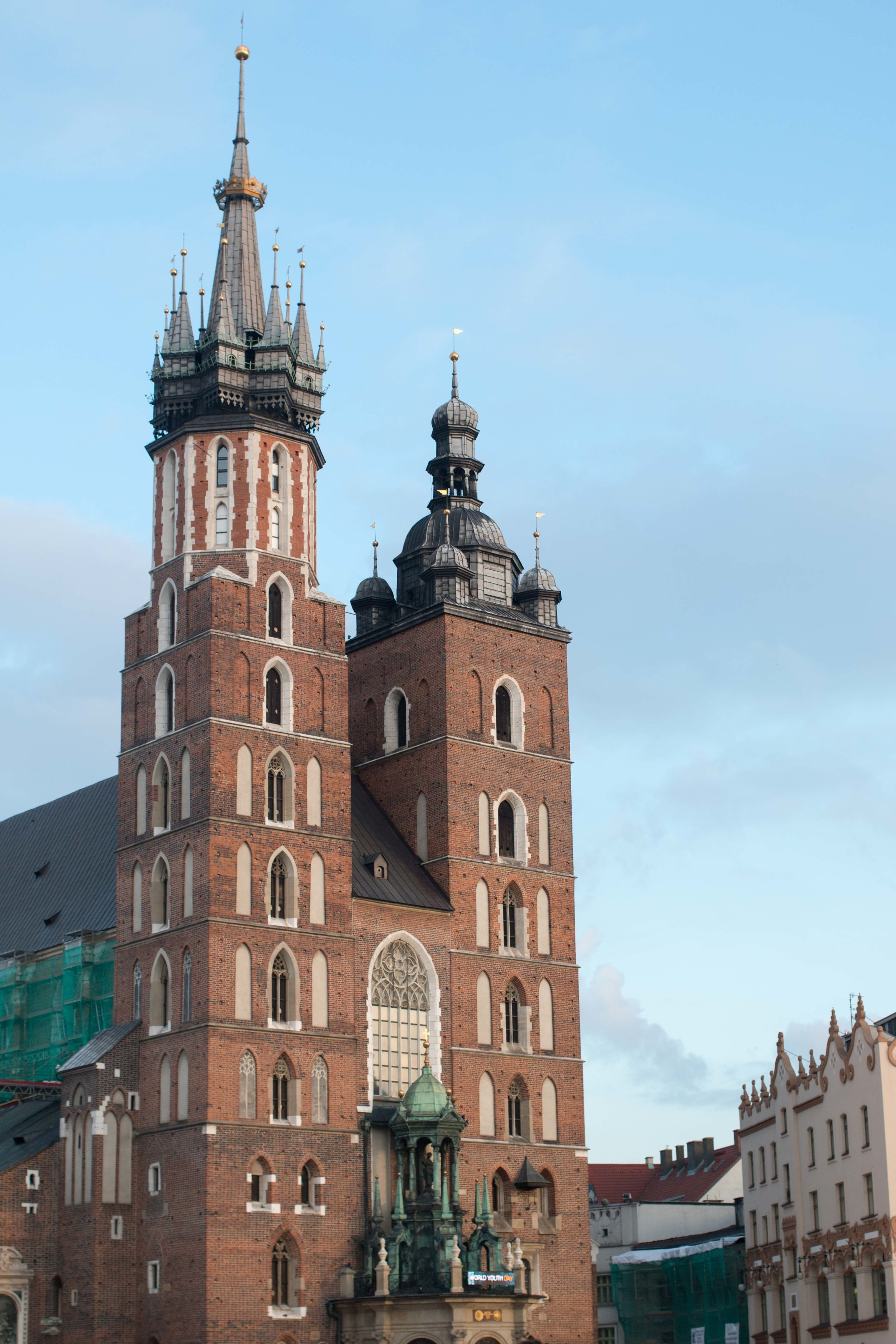 St. Mary's basilica - a trumpeter plays from the taller tower, each hour, throughout the day and night
