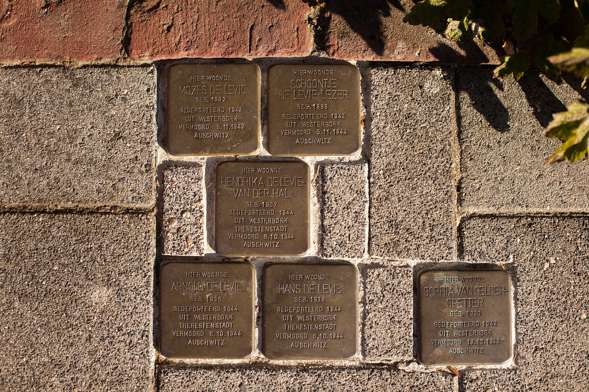 These show two parents deport to Westerbork in 1942, their three children were deported two years later in 1944. All were sent to Auschwitz where they were murdered. The Right stolperstein is for a 22 year old woman deported in 1942, first to Westerbork and then Auschwitz, where she as murdered.  IMAGE COURTESY OF SARAH HUGGARD PHOTOGRAPHY