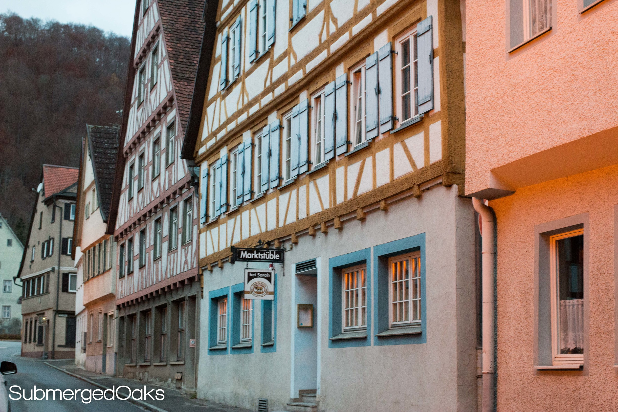 STreet with half timbered buildings in Blaubeuren