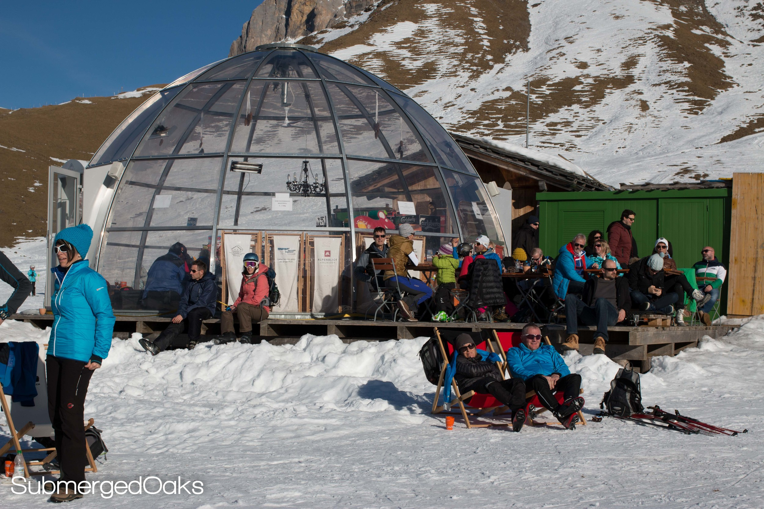 Glass igloo to warm up in and grab some snacks