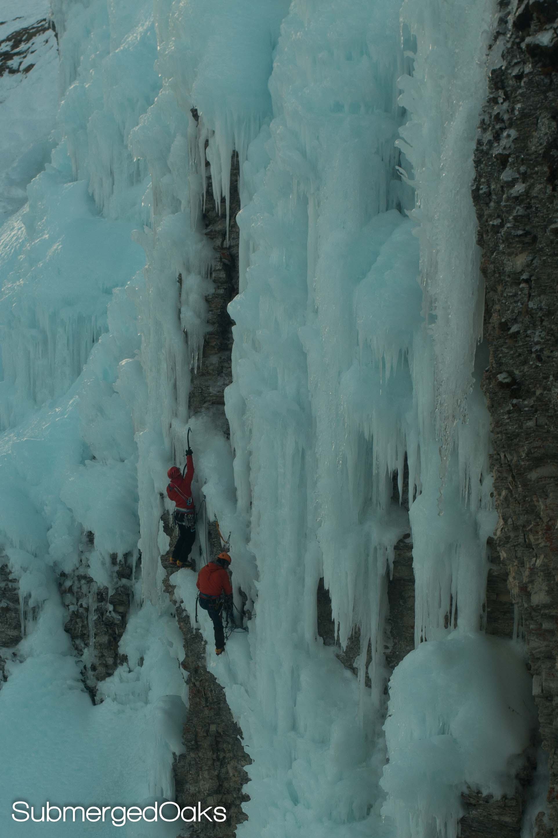 Ice climbers - they are braver then either of us! Right behind them is a sheer cliff