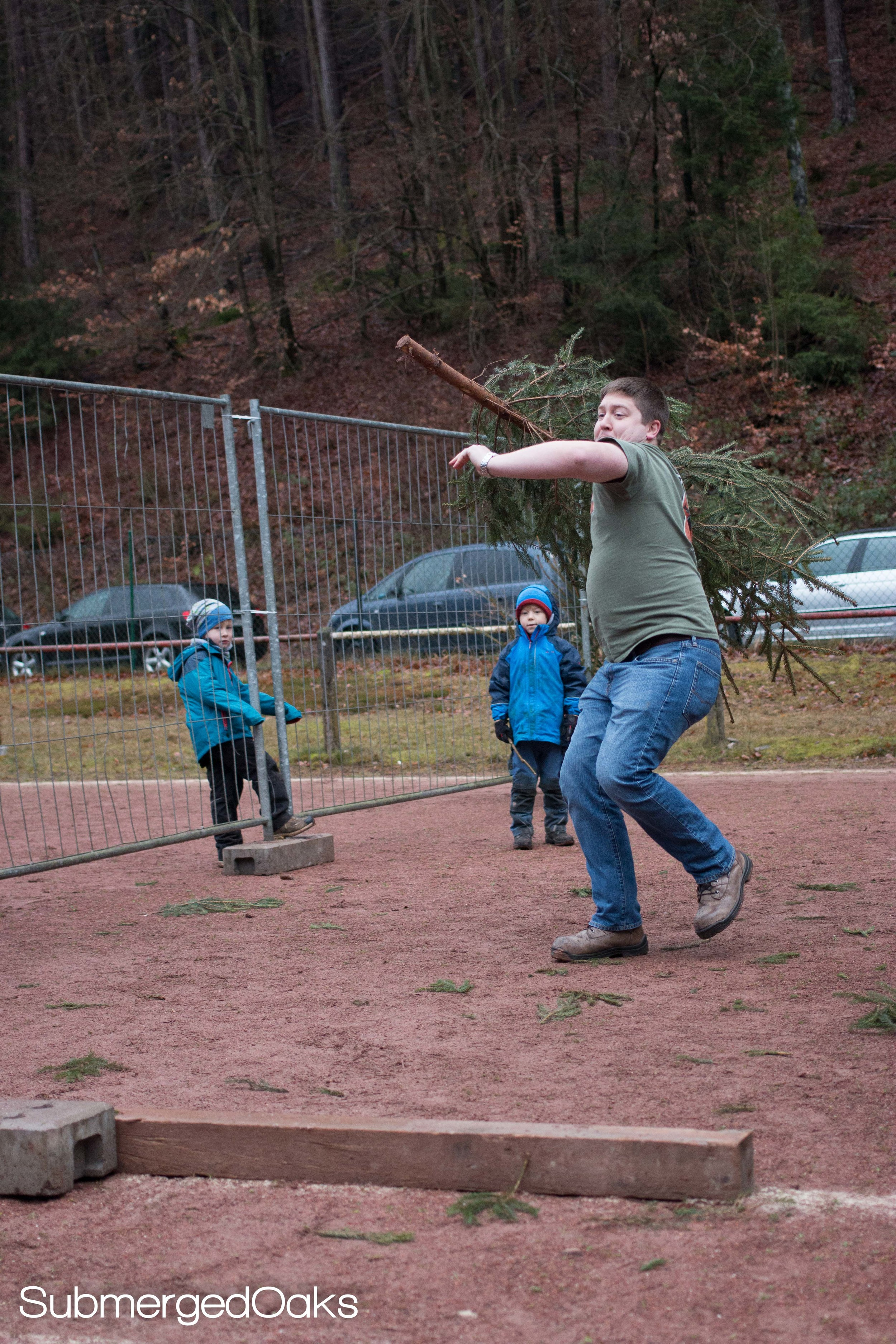 Aaron taking his turn at the JAVELIN style throw