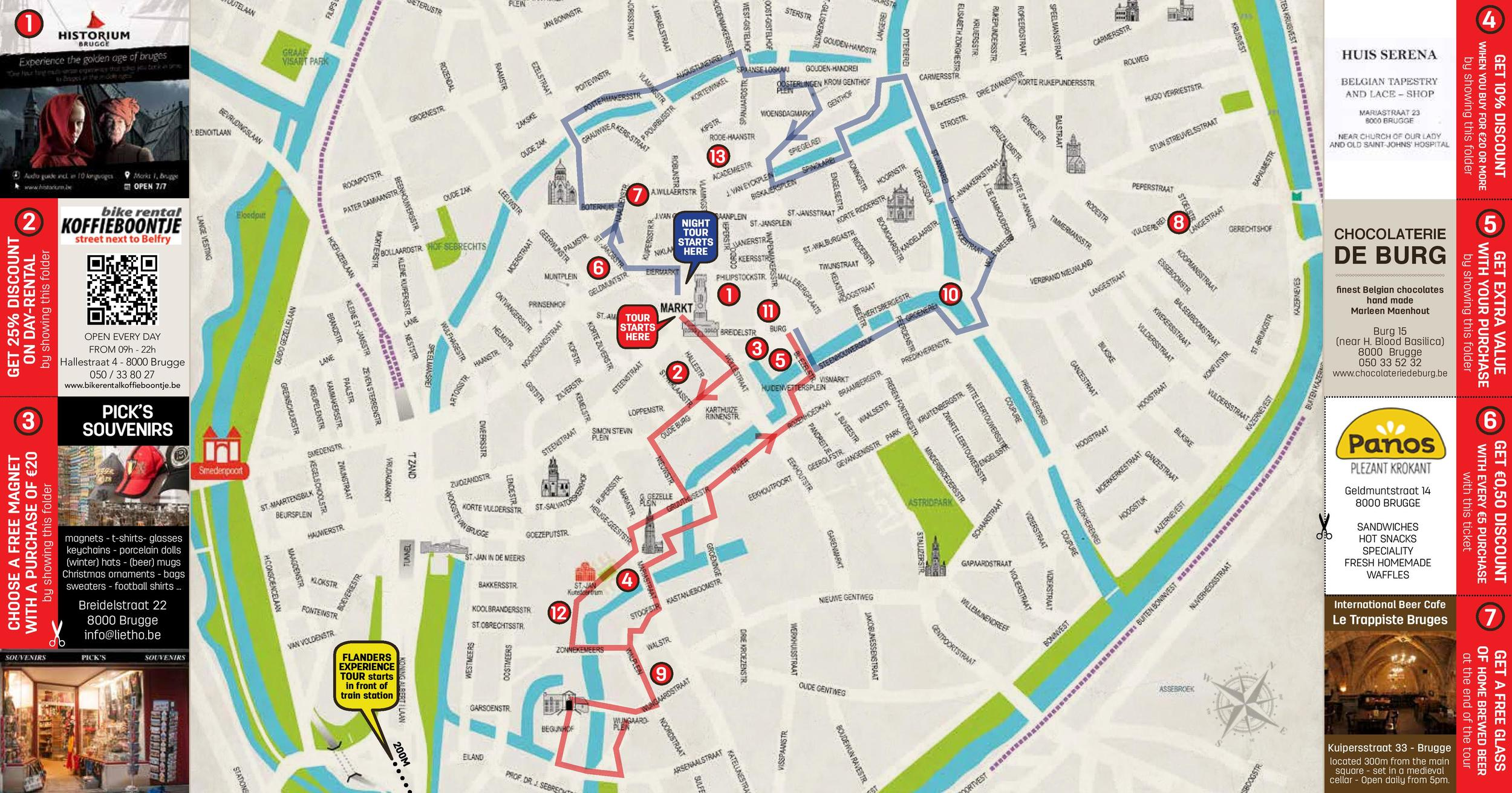 Map of the two tour routes. Red is the day rtoute and blue is the night route. Map courtesy of Legends of Bruges.