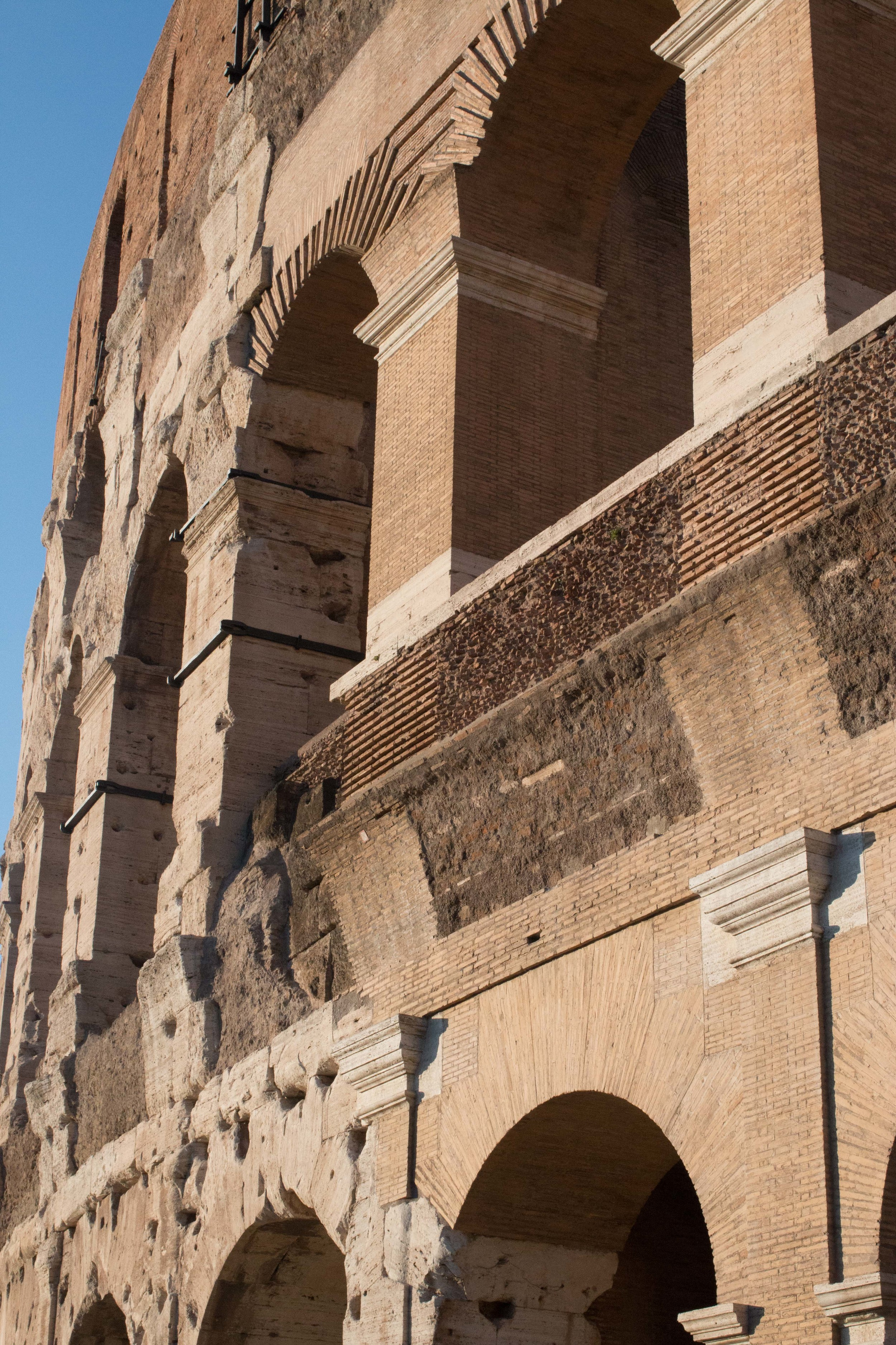 Here you can see where parts of the colosseum have been reconstructed for added stability