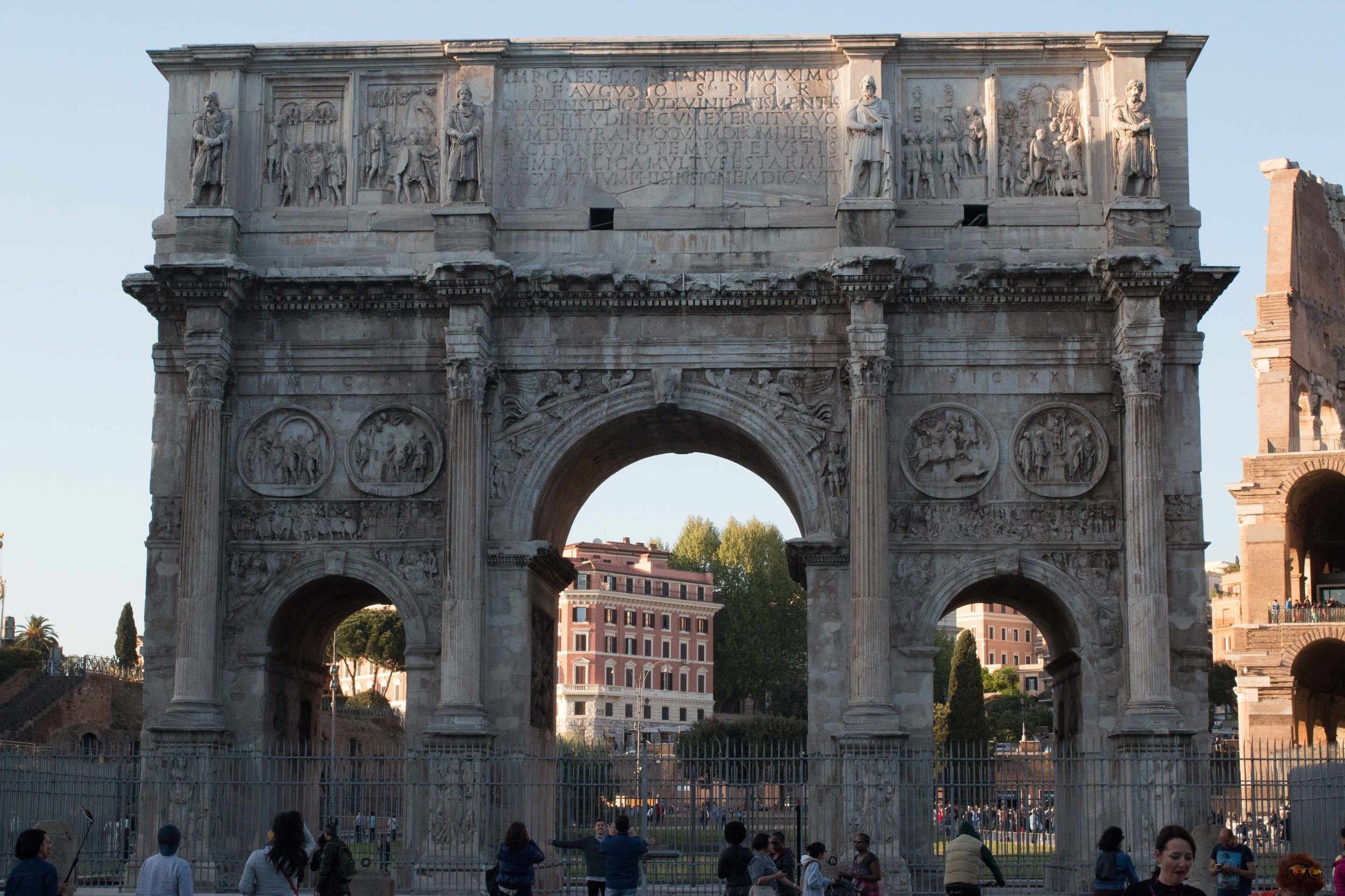The ancient gate at the Colosseum