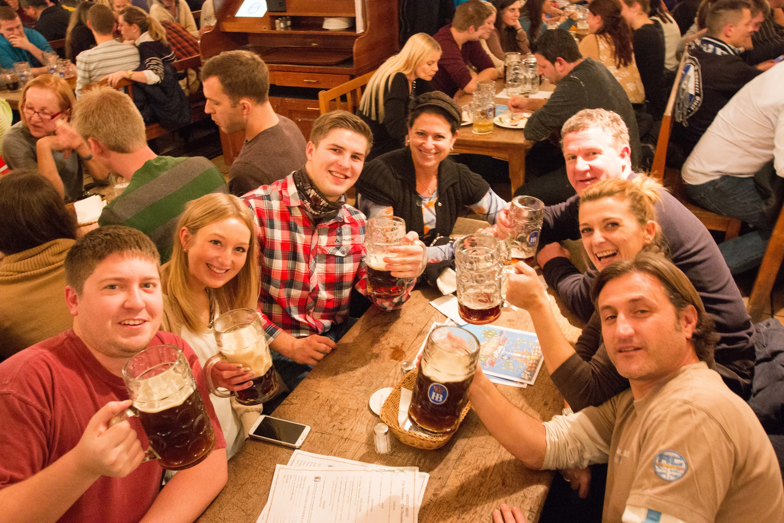 Enjoying a Mass (1 Liter of beer!) at the Hofbrauhaus - make sure you make friends with your tablemates. Here there were Spanish, American, Russian, and Germans!