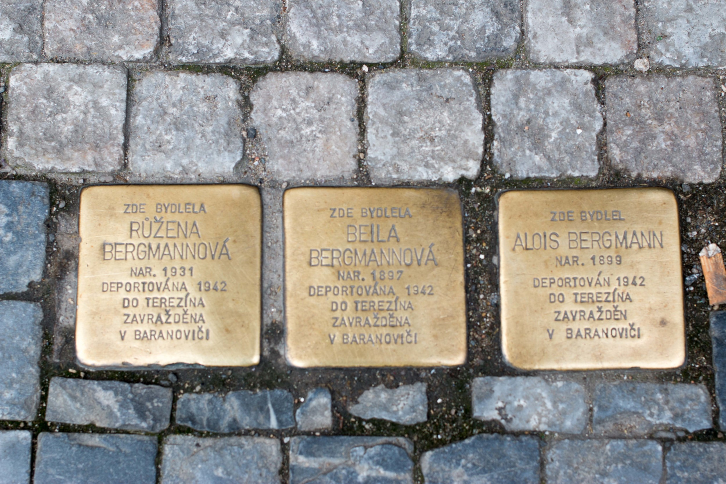 Prague. A couple and their daughter deported to Theresenstadt and then sent to Baranovici in Belarus. There is no information on whether or not they survived or were murdered.