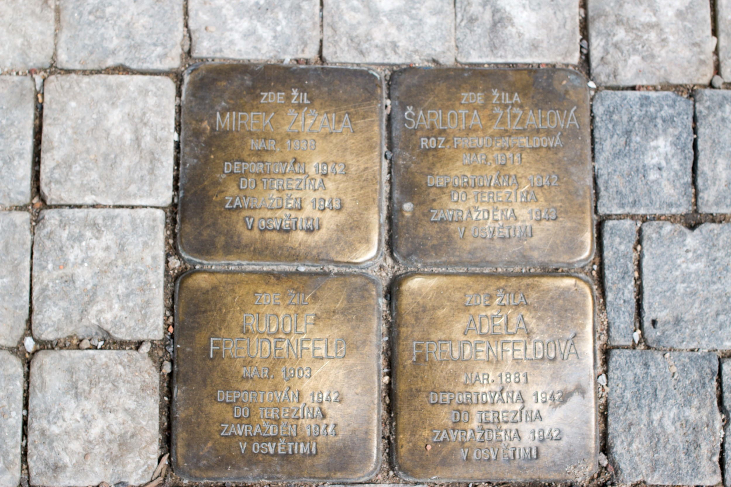 Prague. Two couples deported in 1942 to Theresenstadt before later being moved to, and murdered at, Auschwitz.