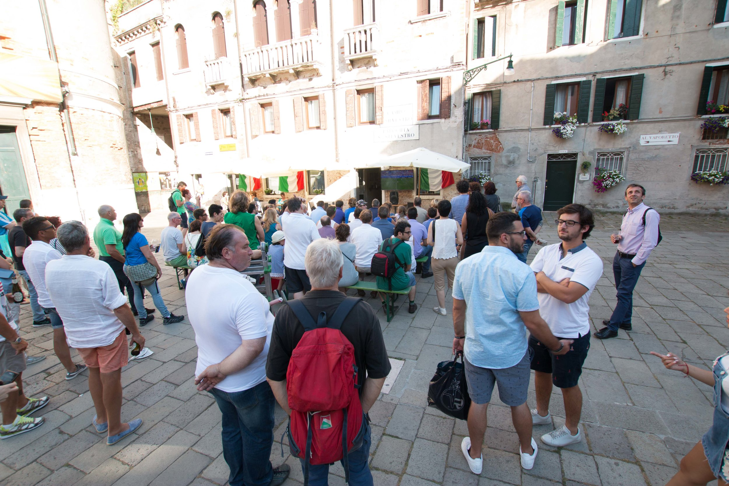 Crowd gathered to watch the Italy-Spain World Cup Match