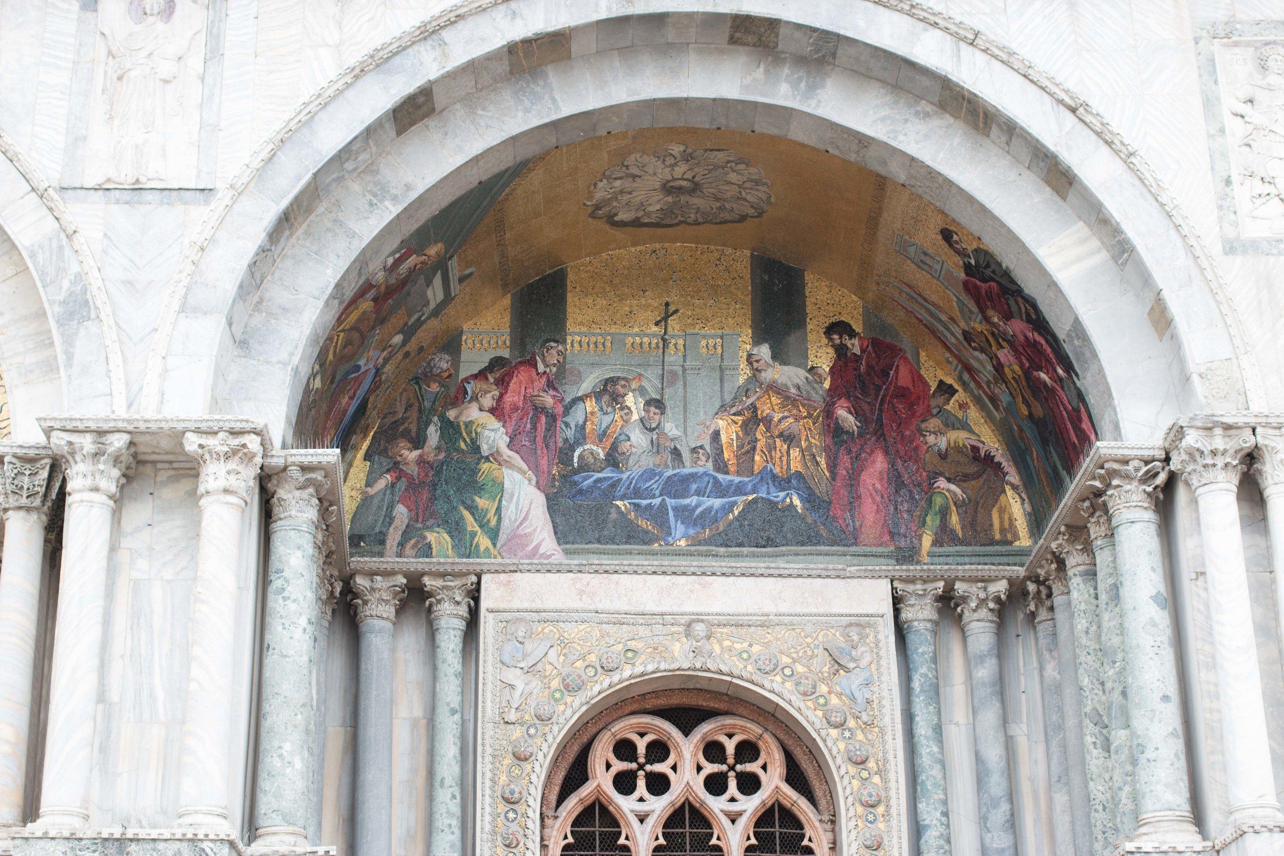 Tile fresco on the facade of St. Mark's