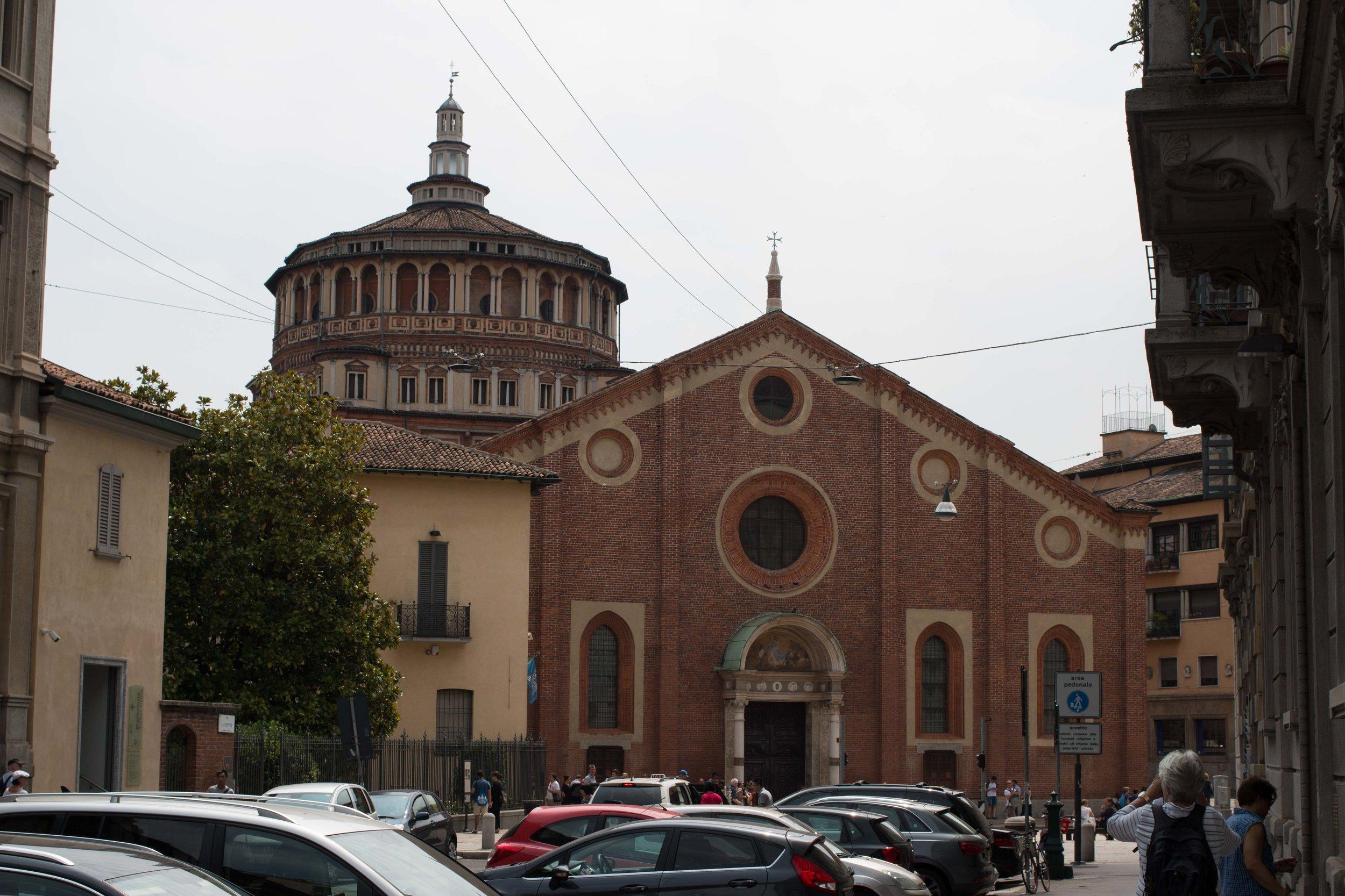 Non-descript exterior of the Convent of Santa Maria delle Grazie