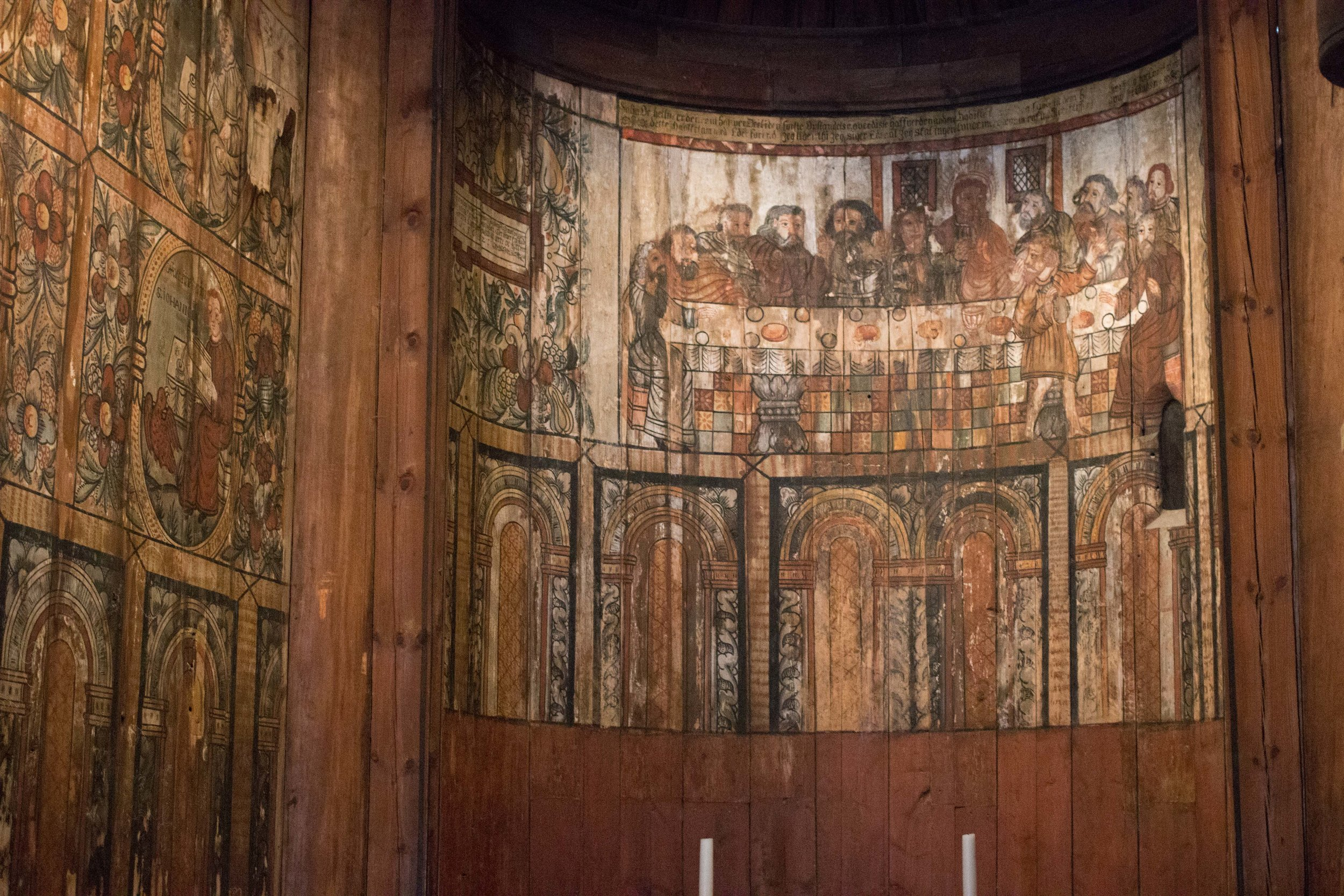 preserved painting inside the stave church in the Norwegian Folk Museum