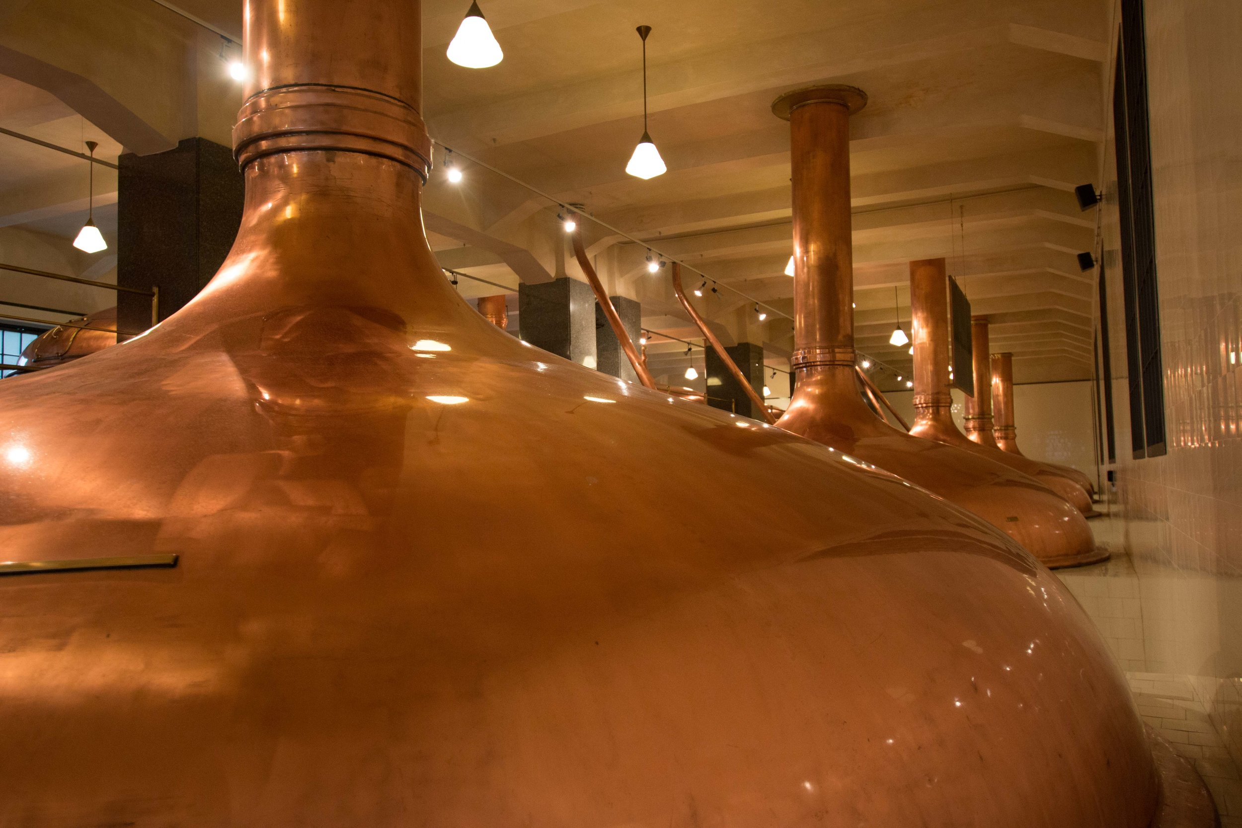 Brew Kettles in the Pilsner Urquell Brewery