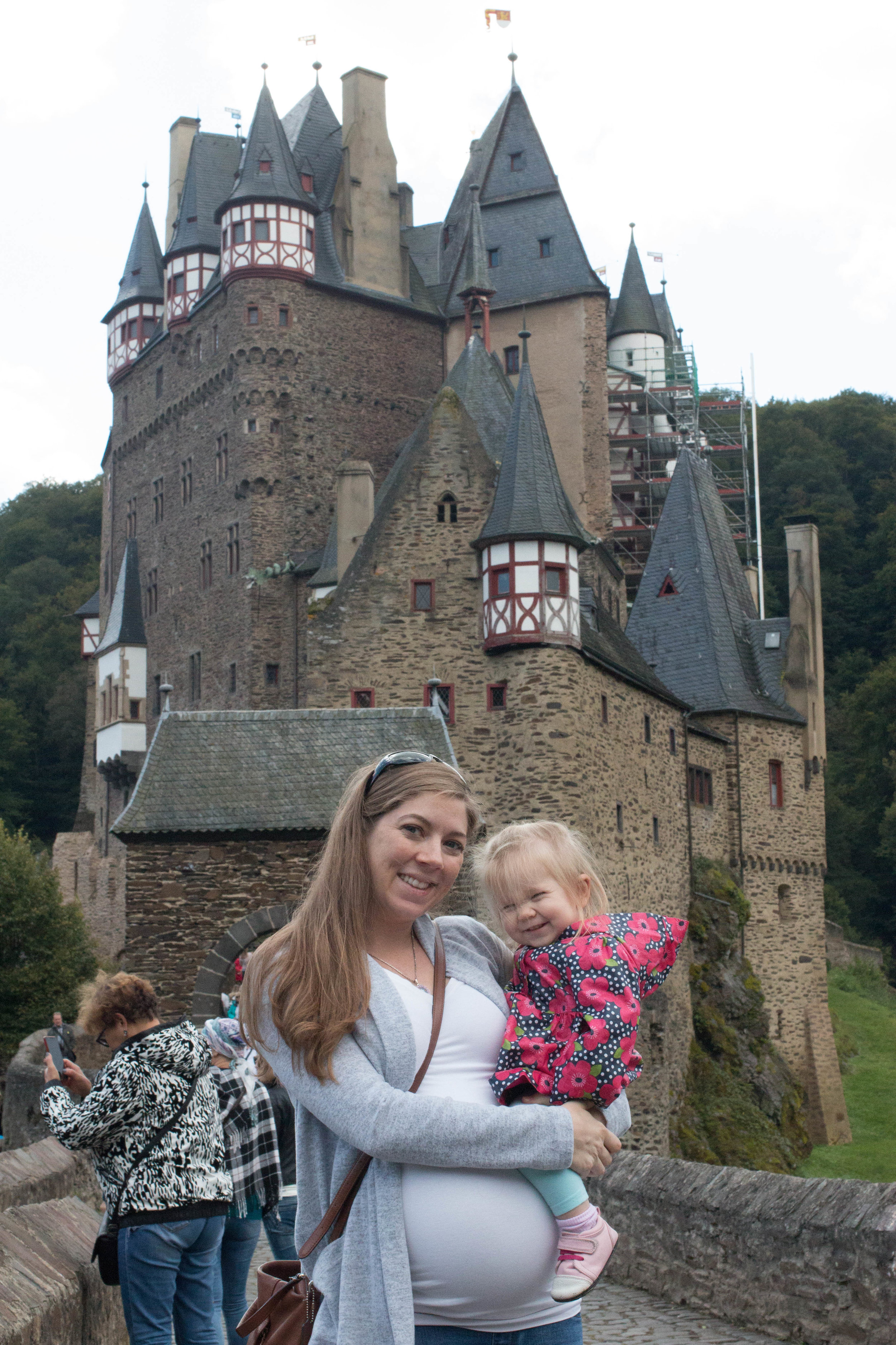 Evelyn and I viiting Burg Eltz. Look how little she was and how long my hair was!