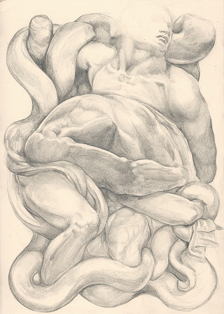 'Apollo and the Snake' takes its inspiration from three iconic pieces of sculpture linked through time; Michelangelo's Dying and Bound slaves, and Laocoon and Sons, the sculpture infamously excavated before the eyes of the young Michelangelo in Rome at the height of the Renaissance. Three sculptures that deal with the agony of being bound, of dying, and of freedom. Forms shift and flow one into another, losing the personality, the humanity of the bodies, to be replaced by the iconography of the Snake. Metamorphosis as a series, as well deals with both the physical act of Metamorphosis that takes place in all art-making, as well as the ever shifting iconograhpies of human culture. The presence of a snake has connoted an act of evil for two thousand years thanks to the intervention of Christian traditions, yet snake goddess cults that pre-date christianity have been found across the world from the Minoan civilization to the Persian Middle east and Ancient Egypt, leading archaeologists to surmise that snakes have been central to many belief systems, both in the act of guarding sacred spaces, and in their practice of shedding their skins, symbolizing an act of rebirth.