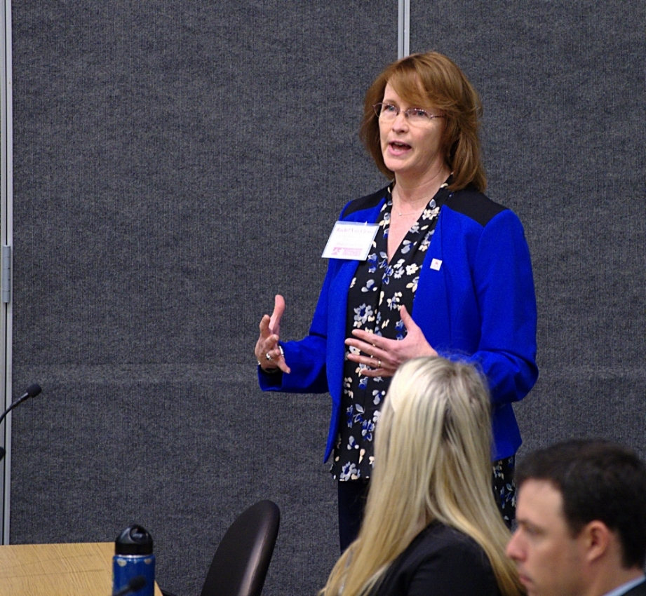 Rachel Van Cleave, Dean of Law School at Golden Gate University, presenting the welcoming speech.
