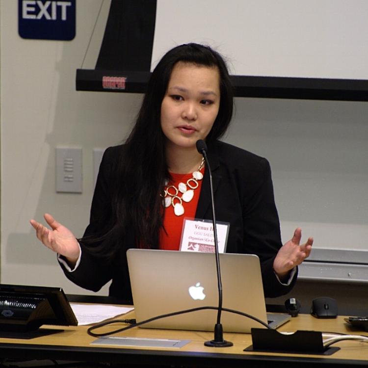 Venus Ho, Co-Chair of GGU SALDF, presenting the welcoming remarks.