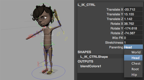 IK Limb space parenting.  The IK limbs can be parented and keyed to follow the head, chest, waist and hips. This is useful if the animator wants the hand resting on the head or hips for example.