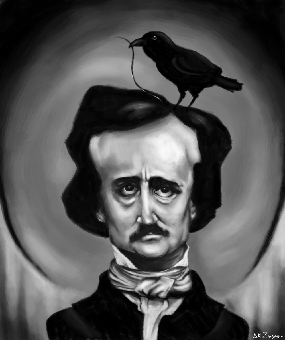 Edgar Allen Poe caricature.