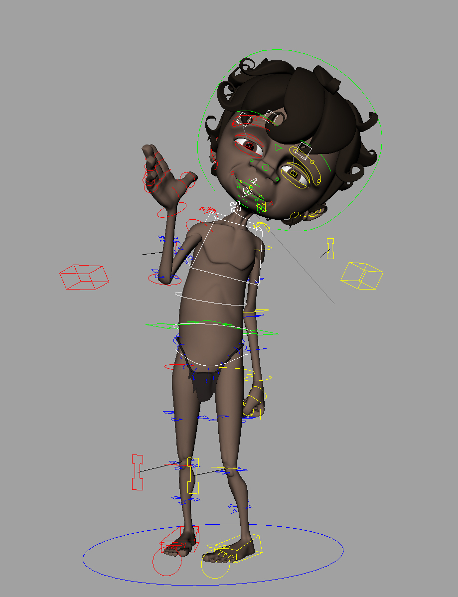 Modelling by Arthur Moody.  This character has a full body and facial rig and is one of three identical hero character rigs in the project Wadu Matyidi. The aim was to create a rig capable of performing the widest range of emotions and complex body mechanics as possible with the fewest controls and attributes necessary.  The rig has been designed with the animator in mind to allow them to focus on animation without worrying about the rig. Animation is created by using on screen controllers with very few sliders, buttons or key-able attributes.