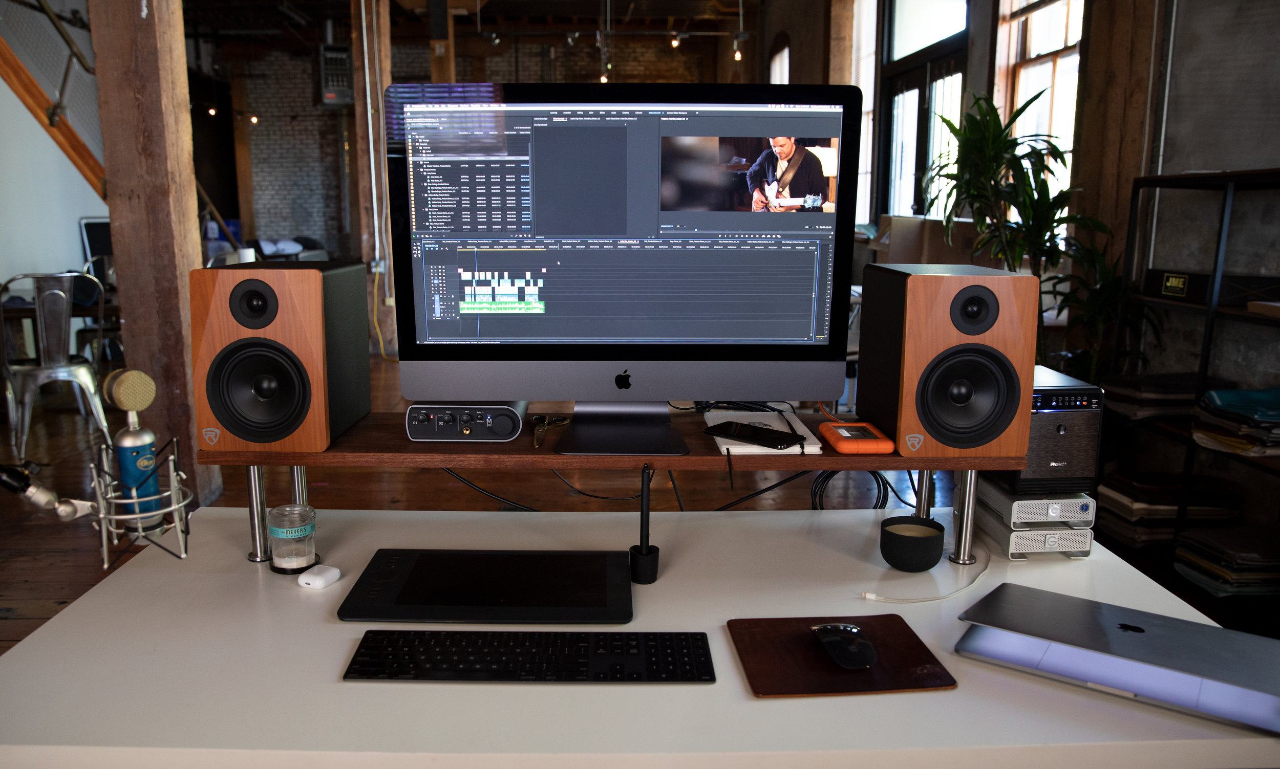 Edit Station - My office has multiple edit stations but this setup is the most used when it comes to working on day to day projects. I have a background in audio engineering and handle all post production audio and video work from this one station.