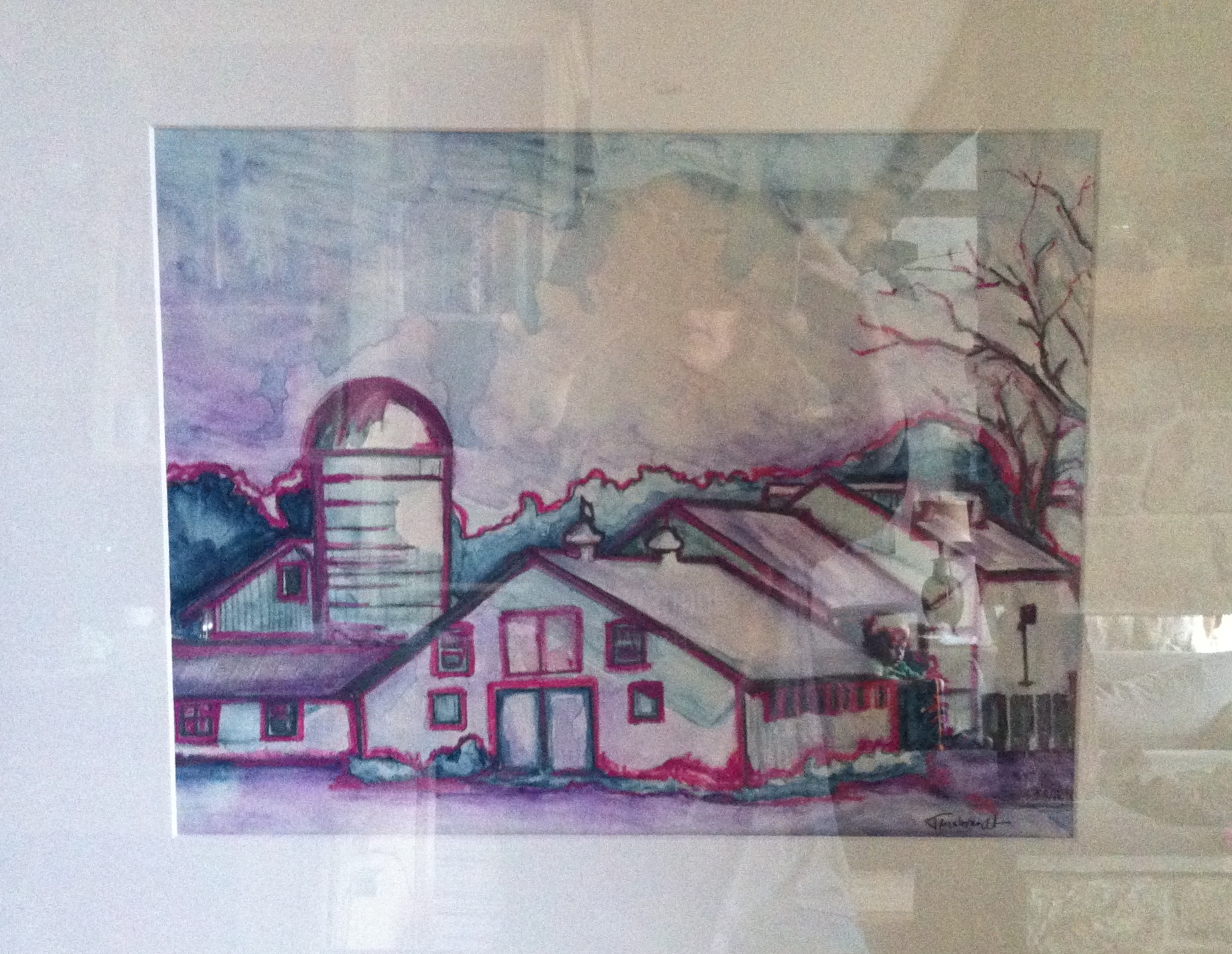 "This is ""Farm on Grace Road #1"" done in watercolor.  Sorry the photo is terrible!  You can see my arms and chin in the background with my iPhone truing to snap one without a glare, but I was wholly unsuccessful."